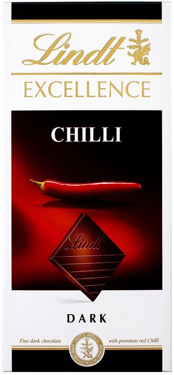 Lindt Excellence темный шоколад с экстрактом перца чили, 100 г ( 7610400070577 )