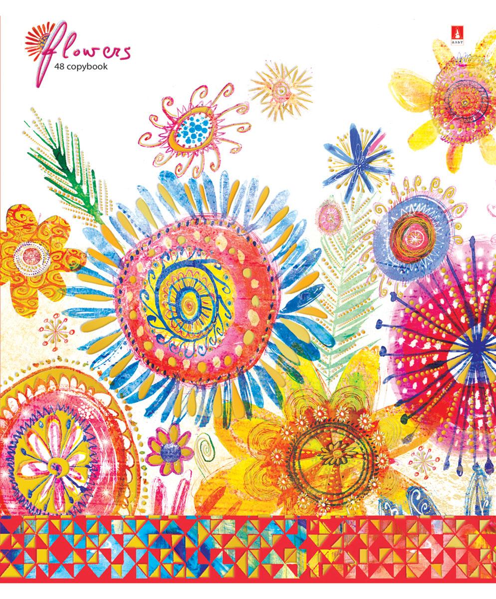 Альт Тетрадь Цветы Счастье 48 листов в клетку Вид 57-48-115Тетрадь из серии Цветы. Счастье прекрасно подойдет для школьников и студентов. Тетрадь формата А5 в двойной обложке из качественного картона. Благодаря закругленным краям исключаются заломы страниц. Вторая обложка содержит поле для личных данных школьника, а полноцветные форзацы продолжают общее оформление серии. Тетрадь выглядит стильно и эффектно за счет полиграфической отделки. Внутренний блок состоит из 48 листов. Бумага отличается белизной и гладкостью, обладает плотностью 60 грамм, не просвечивает чернила. Все страницы разлинованы в клетку и дополнены красными полями. Модные техники коллажа и аппликации, стилизация под рисунки от руки - все эти приемы создают красочный, сказочный стиль тетрадей Цветы. Счастье.