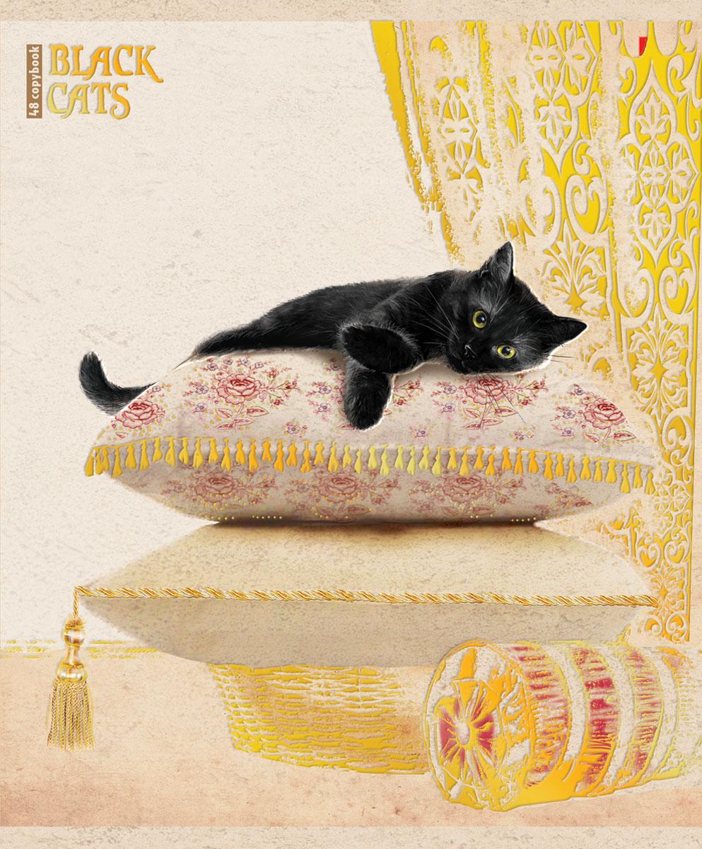 Альт Тетрадь Черные кошки 48 листов в клетку вид 27-48-648Тетрадь Альт Черные кошки подойдет студенту и школьнику. Суеверия, связанные с черными кошками - не более чем выдумки и стереотипы. Новая серия тетрадей поможет убедиться, что это не так. Красочная двойная обложка тетради с закругленными углами выполнена из картона с рельефным тиснением и дополнена изображением кошки, лежащей на подушке. Внутренний блок тетради состоит из 48 листов белой бумаги, соединенных двумя металлическими скрепками. Стандартная линовка в клетку голубого цвета дополнена полями.