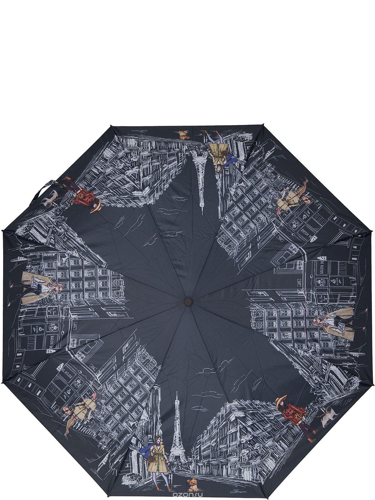 Зонт женский Eleganzza, автомат, 3 сложения, цвет: черный. A3-05-0268LSA3-05-0268LSЖенский зонт-автомат торговой марки ELEGANZZA с каркасом Smart, который позволяет без особых усилий складывать зонт, не позволяя стержню вылетать обратно. Купол: 100% полиэстер, эпонж. Материал каркаса: сталь + алюминий + фибергласс. Материал ручки: пластик. Длина изделия - 30 см. Диаметр купола - 105 см. Система Smart, не позволяет стержню при сложении вылететь обратно, это облегчает сложение зонта! При сложении есть характерный звук-треск, как трещетка. Примечание: зонт не откроется с кнопки если его не закрыть до щелчка!