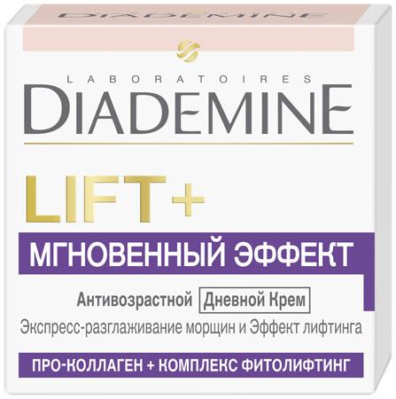 Diademine LIFT+ Мгновенный эффект Дневной крем, 50 мл2083504LIFT+ МГНОВЕННЫЙ ЭФФЕКТ Дневной крем сочетает 2 мощных действия: Формула с Про-Коллагеном воздействует на наиболее важные типы коллагена в коже, укрепляя его структурную сеть. В результате достигается эффект лифтинга и повышается упругость кожи. Комплекс Фитолифтинг создает невидимую вуаль на поверхности кожи, которая обеспечивает мгновенный разглаживающий эффект.