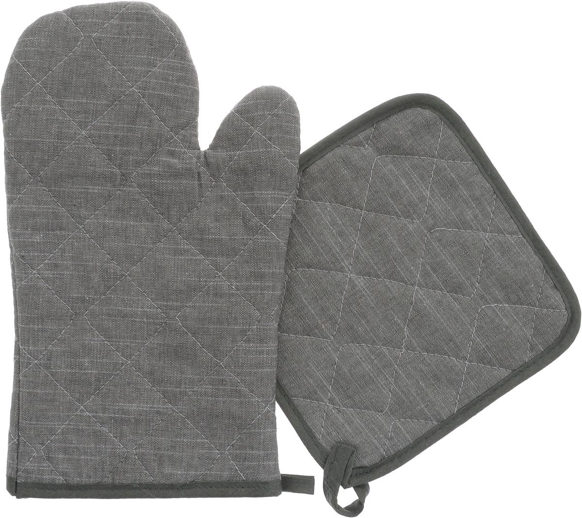 Набор прихваток Home Queen Деним, 2 предмета65029_серыйНабор Home Queen Деним состоит из квадратной прихватки и прихватки-варежки. Изделия выполнены из хлопка, льна и полиэстера. Прихватки оснащены петельками, за которые их можно повесить в любое удобное место. Такой набор станет отличный вариантом подарка для практичной и современной хозяйки.