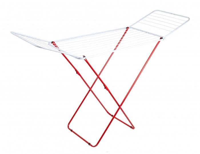 Сушилка для белья Attribute Прима, напольная, цвет: красный. ADP118ADP118Складная сушилка Attribute Прима из высококачественной стали позволит вам экономить пространство в комнате. Антискользящие вставки на ножках сушилки обеспечат надежную устойчивость. Имеет накладки против скольжения и повреждения пола. Максимальная нагрузка: 17 кг. Габариты (высота, длина, ширина): 96 х 105 x 55 см. Рабочая длина: 1,8 м. Количество подвесов: 8 шт, длиной по 1 м, 12 шт длиной по 0,5 м.