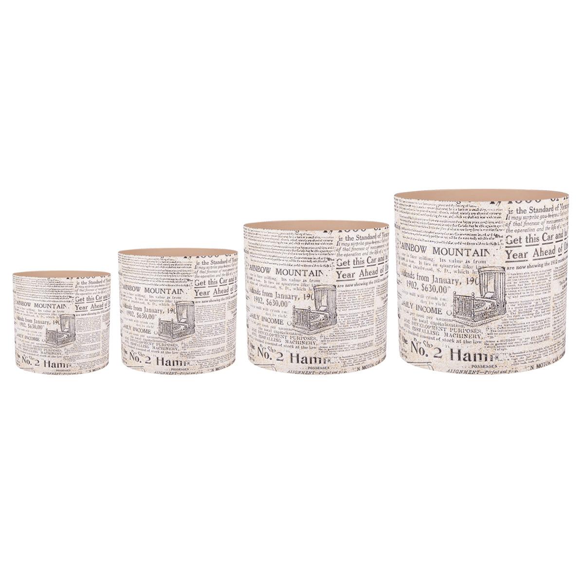 """Набор горшков для цветов Miolla """"Газетный стиль"""", со скрытым поддоном, 4 предмета SMG-SET20"""