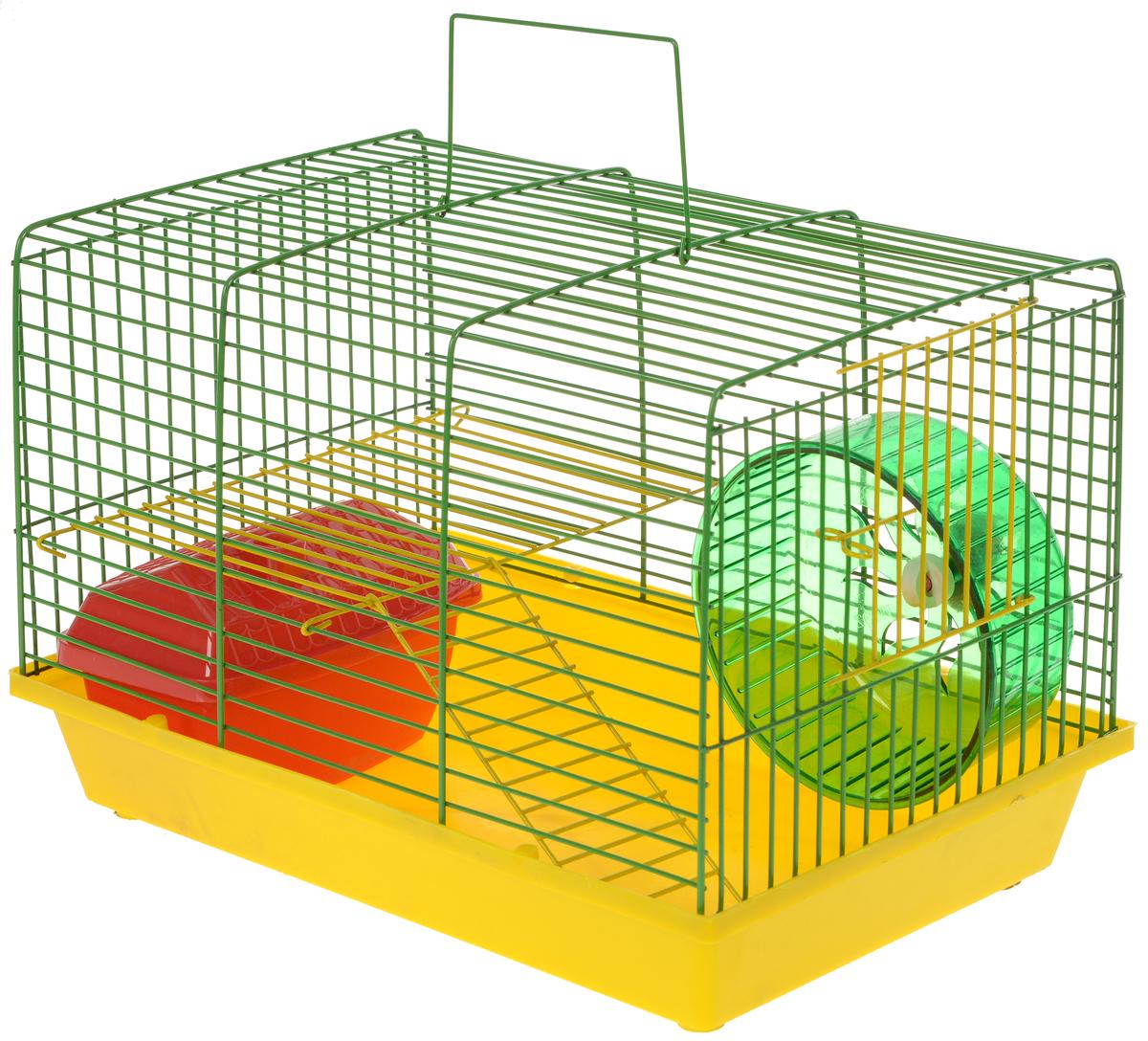 Клетка для грызунов ЗооМарк, 2-этажная, цвет: желтый поддон, зеленая решетка, желтый этаж, 36 х 22 х 24 см125ж_желтый, зеленый, красныйКлетка ЗооМарк, выполненная из полипропилена и металла, подходит для мелких грызунов. Изделие двухэтажное, оборудовано колесом для подвижных игр и пластиковым домиком. Клетка имеет яркий поддон, удобна в использовании и легко чистится. Сверху имеется ручка для переноски. Такая клетка станет личным пространством и уютным домиком для маленького грызуна. Комплектация: - клетка с поддоном; - домик; - колесо.