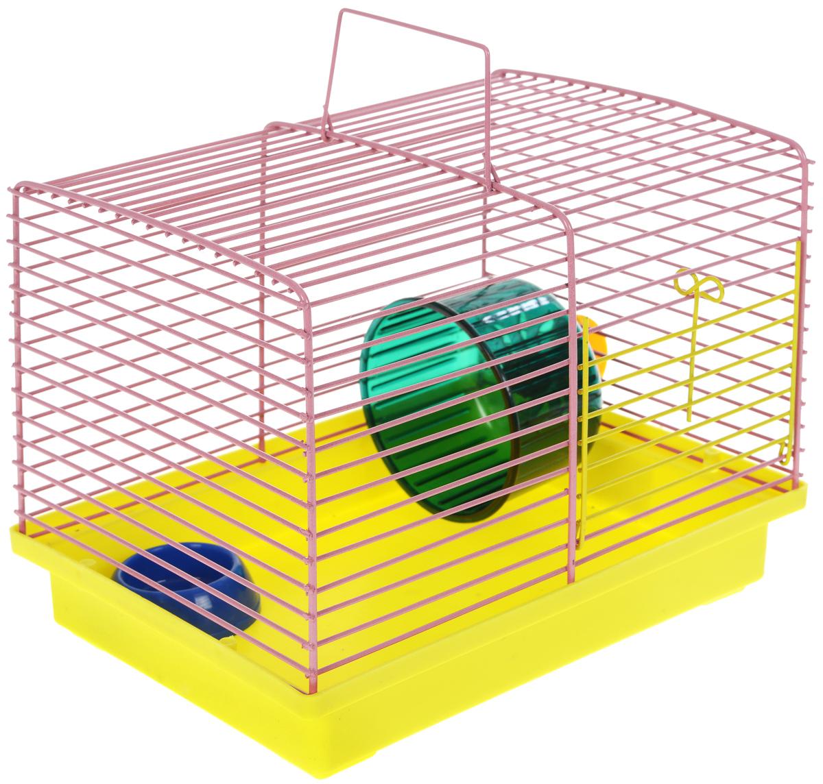 Клетка для хомяка ЗооМарк, с колесом и миской, цвет: желтый поддон, розовая решетка, 23 х 18 х 18,5 см511_желтый, розовыйКлетка ЗооМарк, выполненная из пластика и металла, подходит для джунгарского хомячка или других небольших грызунов. Она оборудована колесом для подвижных игр и миской. Клетка имеет яркий поддон, удобна в использовании и легко чистится. Такая клетка станет личным пространством и уютным домиком для маленького грызуна. Комплектация: - клетка с поддоном; - колесо; - миска.