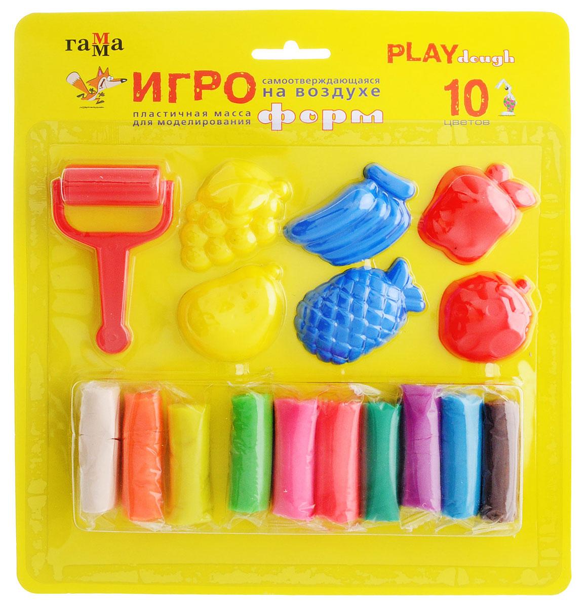 Гамма Набор для лепки Игроформ482003Набор для лепки Гамма Игроформ приведет в восторг вашего малыша. Пластилин обладает удивительной пластичностью, не пачкается и не липнет к рукам и рабочей поверхности, очень податливо принимает любые формы, а также полностью застывает на открытом воздухе. Набор включает 10 насыщенных цветов - зеленый, синий, желтый, красный, белый, оранжевый, розовый, темно-зеленый, фиолетовый, коричневый. Цвета отлично смешиваются между собой, образуя новые оттенки. Пластилин для лепки каждого цвета хранится в отдельном пакетике. Также в набор входят пластиковый ролик для раскатывания и 6 формочек. Лепка поможет малышу развить мелкую моторику рук, творческое мышление, фантазию и воображение, а также способствует самовыражению.