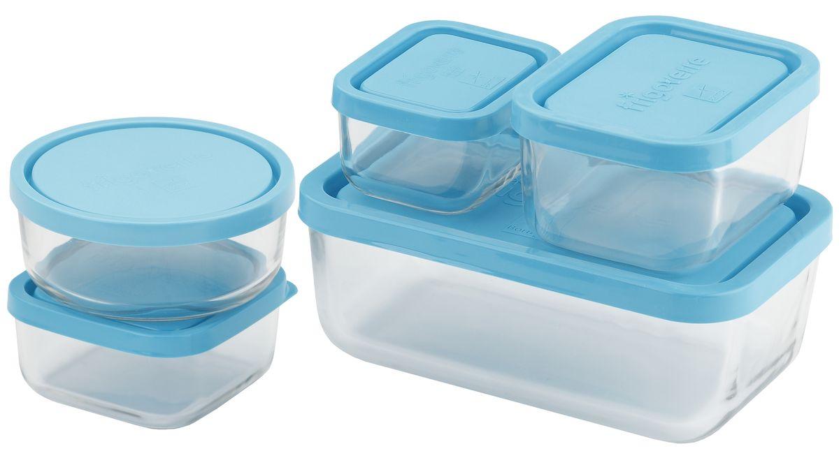 Набор контейнеров Bormioli Rocco Frigoverre, 5 предметов, цвет крышки: синийB388840Набор из 5-и стеклянных контейнеров Frigoverre с синей крышкой (10х7, 10х10, 10х13, 13х21, d-12 см). Из холодильника сразу в микроволновую печь! Выдерживают температурный удар от – 20С до +70С. Безопасны для хранения готовых продуктов. Не содержат Бисфенол А. BPA Free. Закаленное стекло. В 5 раз повышена ударостойкость. Устойчивы к царапинам и сколам. Удобство использования. Изделия легко моются. Можно использовать в посудомоечной машине. Настоящее итальянское качество!