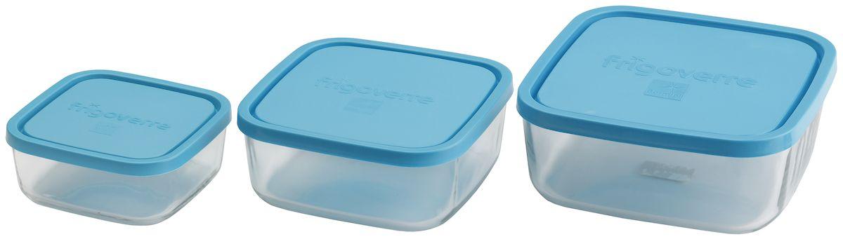 Набор контейнеров Bormioli Rocco Frigoverre, квадратные, 3 предмета, цвет крышки: синий