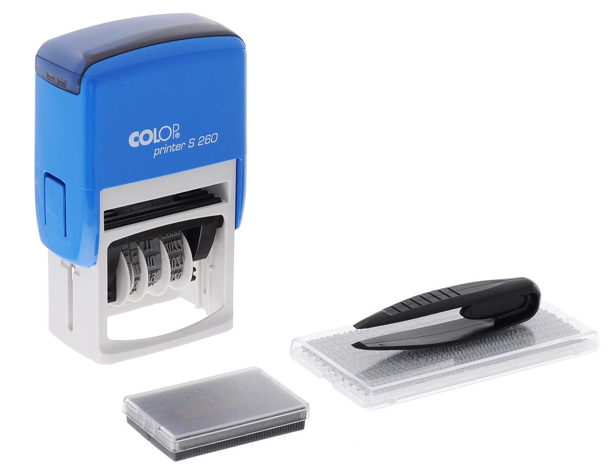 Colop Датер самонаборный двухстрочный Printer S 260 Bank-SetPRINTER S260 SETBankНадежный пластиковый корпус с автоматическим окрашиванием текста. Подходит для работы в бухгалтерии, на складе, в банке. Рифленая пластина для набора текста расположена вокруг даты, дата 4 мм в центре. Датер самонаборный двухстрочный Colop Printer S 260 Bank-Set рассчитан на 12 лет, включая текущий год. В комплекте: датер с рифленой пластиной, касса букв, пинцет, двухцветная сменная подушка.
