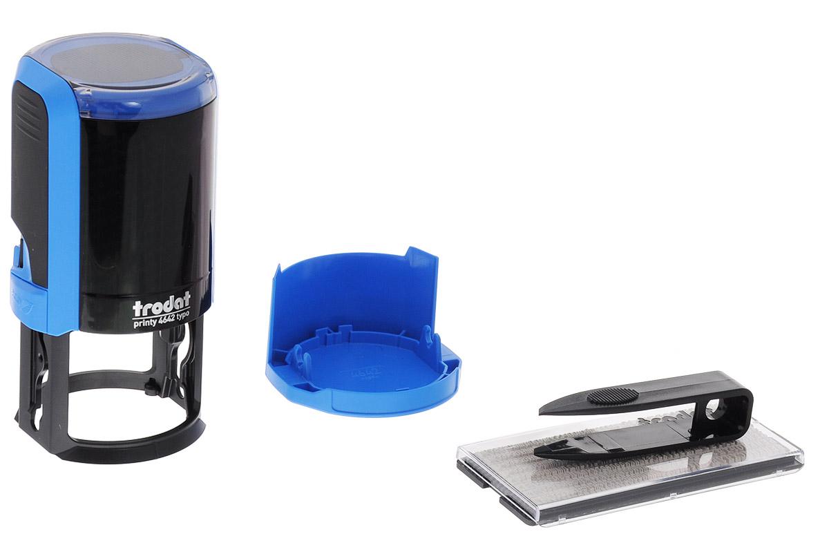 Trodat Печать самонаборная Typo-R1,54642/R1,5Самонаборная печать Trodat имеет прочный пластиковый корпус и автоматическое окрашивание. Используется для набора круглых печатей для внутреннего использования. Круглая рифленая пластина с кругами и горизонтальными строками. В комплекте: пинцет, касса букв, цифр и символов, сменная синяя штемпельная подушка - 1,5 круга. Диаметр - 42 мм.