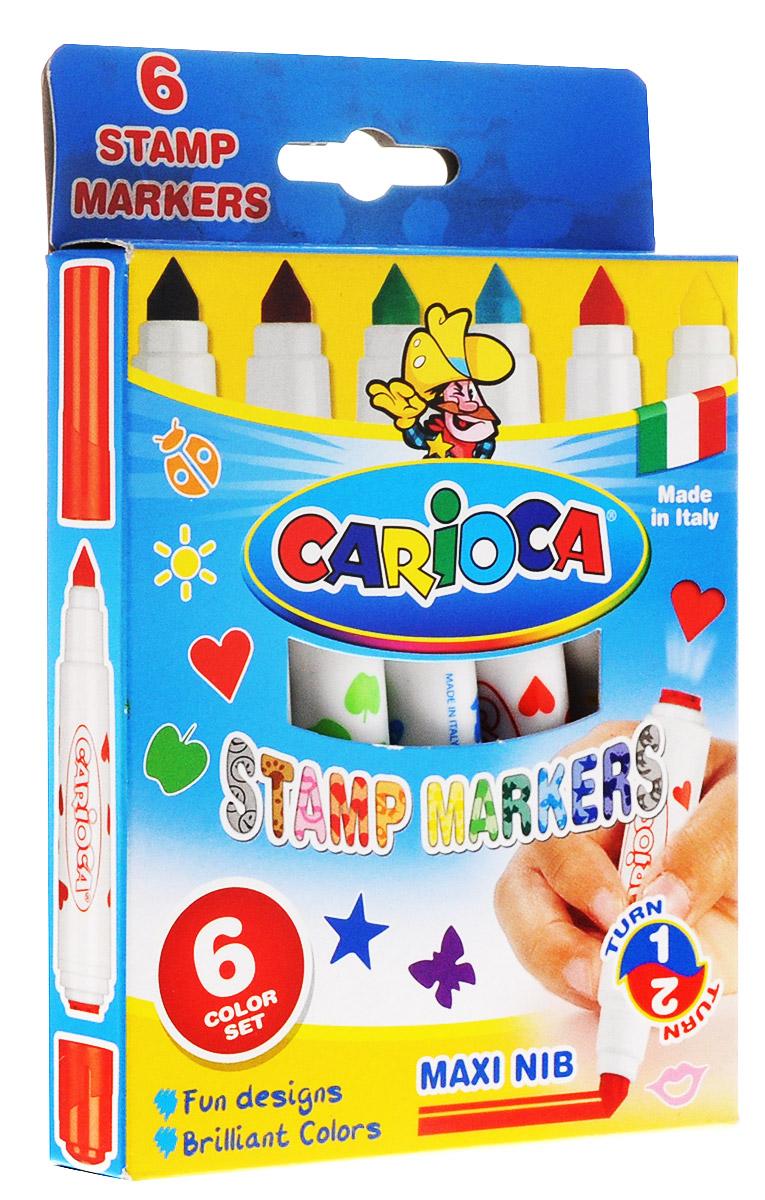 Carioca Набор фломастеров Stamp Markers 6 цветов42279Ваш малыш не представляет свою жизнь без творчества? Он любит рисовать, лепить, делать разнообразные подделки? Фломастеры Carioca Stamp Markers - это отличный подарок для вашего ребенка, который приведет его в восторг, ведь с помощью них, ребенок сможет создавать новые яркие и красочные шедевры. Фломастеры имеют два наконечника: один обычный со стержнем для рисования, позволяющим рисовать как тонкую, так и толстую линию, и второй со штампиком. С помощью штампов можно украшать симпатичными сердечками, рыбками, смайликами различные поделки и открытки. Фломастеры изготовлены из нетоксичных материалов, которые абсолютно безопасны для ребенка, а также легко отстирываются и отмываются, что важно для родителей!