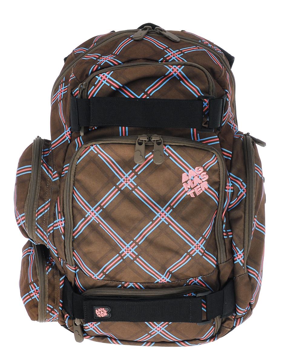 BagMaster Рюкзак детский цвет коричневыйBM-OHIO 01 A_коричневый, клеткДетский рюкзак BagMaster сочетает в себе современный дизайн, функциональность и долговечность. Выполнен из прочных и высококачественных материалов. Содержит одно вместительное отделение, закрывающееся на застежку-молнию с двумя бегунками. Внутри имеется специальное отделение для ноутбука диагональю 15,4 дюйма. На лицевой стороне расположены три накладных кармана на молнии. Внутри наибольшего кармана имеются: два открытых кармашка, четыре фиксатора для пишущих принадлежностей, карман на молнии и мягкая перегородка. Рюкзак оснащен большим боковым карманом на молнии для бутылки с водой, на котором расположен небольшой вертикальный кармашек на молнии, а с другой стороны - два небольших кармана на застежках- молниях. Мягкие широкие лямки повторяют естественный изгиб плечевого пояса, обеспечивая комфортную посадку рюкзака и свободу движений. Пряжки лямок позволяют одним движением отрегулировать посадку уже надетого изделия по фигуре. Рюкзак оснащен нагрудным...