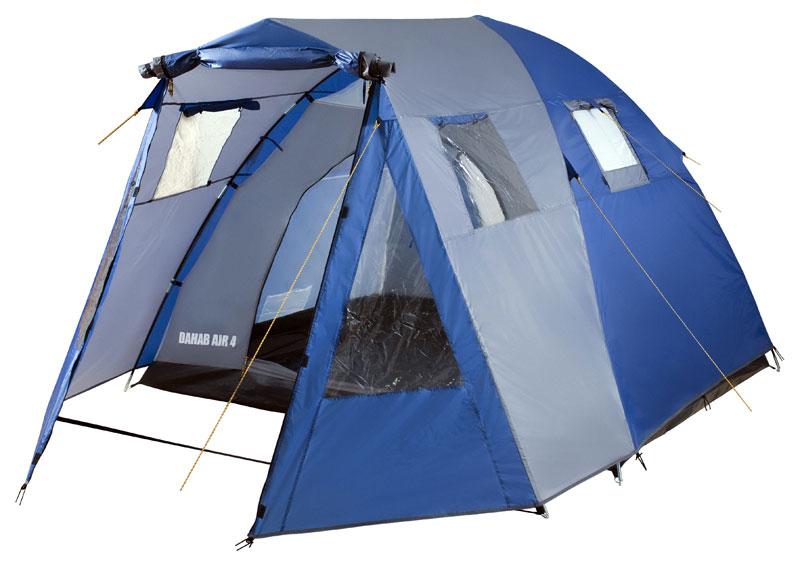 Палатка четырехместная TREK PLANET Dahab Air 4, цвет: синий, серый70234Четырехместная двухслойная классическая палатка TREK PLANET Dahab Air 4 с вместительным светлым тамбуром, обзорными окнами и двумя входами во внутреннюю палатку с противоположных сторон. Особенности палатки: - Тент палатки из полиэстера с пропиткой PU надежно защищает от дождя и ветра. - Все швы проклеены. - Высокий, вместительный и светлый тамбур. - Обзорное окно со шторкой во внутреннем помещении. - Дополнительные вентиляционные окна в тамбуре, защищенные москитными сетками. - Дно из прочного водонепроницаемого армированного полиэтилена позволяет устанавливать палатку на жесткой траве, песчаной поверхности, глине и т.д. - Дуги из прочного стеклопластика. - Внутренняя палатка из дышащего полиэстера, обеспечивает вентиляцию помещения и позволяет конденсату испаряться, не проникая внутрь палатки. - Два входа во внутреннюю палатку с противоположных сторон. - Вентиляционные окна в спальном отделении. - Москитная...