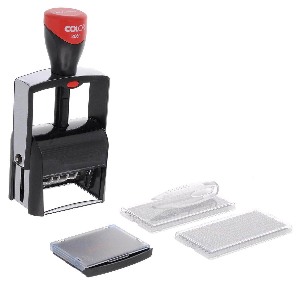 Colop Датер самонаборный S 2660 Set-FS2660 Set-FДатер имеет металлический каркас, обрамленный пластиком. Автоматическое окрашивание текста. Встроенная антибактериальная защита на основе 3G-серебра в ручке и колпачке. Изделие предназначено для работы с повышенной нагрузкой. Мягкость и бесшумность хода, легкий доступ к колесам смены даты. Ленты датерных механизмов закрыты специальным кожухом, который гарантирует абсолютную чистоту в процессе использования. Рифленая пластина для набора текста расположена вокруг даты, дата 4 мм - находится в центре. Датер рассчитан на 12 лет, включая текущий год. В комплекте: датер с рифленой пластиной, пинцет, две кассы букв Type Set A и B, двухцветная сменная подушка, рамка. Месяц указан буквами. Крепление символов на одной ножке, экспресс-набор текста.