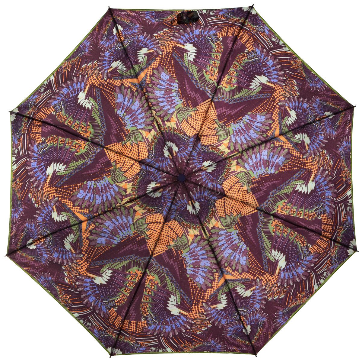 Зонт женский Eleganzza, автомат, 3 сложения, цвет: лиловый. A3-05-0265LA3-05-0265LСтильный и элегантный зонт Eleganzza не оставит вас незамеченной. Зонт оформлен оригинальным принтом. Зонт состоит из восьми спиц и стержня, изготовленных из стали и фибергласса. Купол выполнен из качественного полиэстера и сатина, которые не пропускают воду. Зонт дополнен удобной ручкой из пластика. Зонт имеет автоматический механизм сложения: купол открывается и закрывается нажатием кнопки на ручке, стержень складывается вручную до характерного щелчка, благодаря чему открыть и закрыть зонт можно одной рукой. Ручка дополнена петлей, благодаря которой зонт можно носить на запястье . К зонту прилагается чехол. Удобный и практичный аксессуар даже в ненастную погоду позволит вам оставаться женственной и привлекательной.