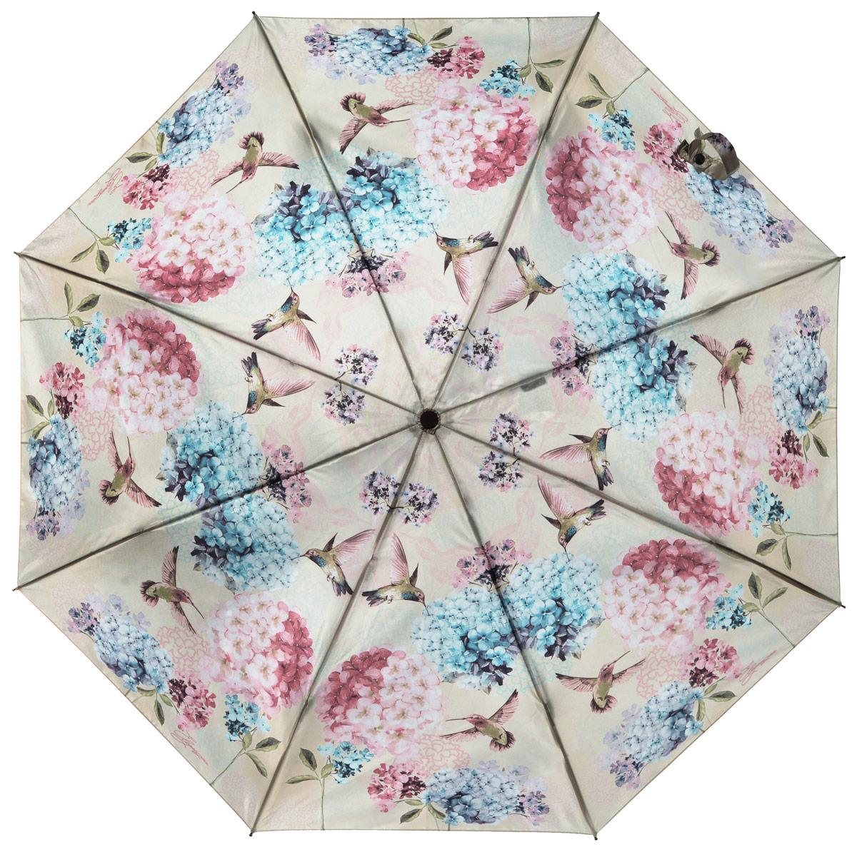 Зонт женский Eleganzza, автомат, 3 сложения, цвет: бежевый. A3-05-0255LA3-05-0255LСтильный и элегантный зонт Eleganzza не оставит вас незамеченной. Зонт оформлен оригинальным принтом в виде цветов. Зонт состоит из восьми спиц и стержня, изготовленных из стали и фибергласса. Купол выполнен из качественного полиэстера и сатина, которые не пропускают воду. Зонт дополнен удобной ручкой из пластика. Зонт имеет автоматический механизм сложения: купол открывается и закрывается нажатием кнопки на ручке, стержень складывается вручную до характерного щелчка, благодаря чему открыть и закрыть зонт можно одной рукой. Ручка дополнена петлей, благодаря которой зонт можно носить на запястье . К зонту прилагается чехол. Удобный и практичный аксессуар даже в ненастную погоду позволит вам оставаться женственной и привлекательной.