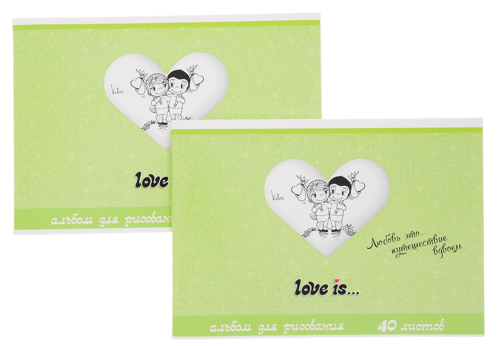 Action! Альбом для рисования Love is... 40 листов цвет салатовый 2 штLI-AA-40_салатовыйАльбом для рисования Action! Love is... порадует маленького художника и вдохновит его на творчество. Альбом изготовлен из белой бумаги с яркой обложкой из высококачественного картона, оформленной изображением влюбленной пары. Высокое качество бумаги позволяет рисовать в альбоме карандашами, фломастерами, акварельными и гуашевыми красками. Внутренний блок альбома состоит из 40 листов белой бумаги, соединенных двумя металлическими скрепками. В наборе два альбома.