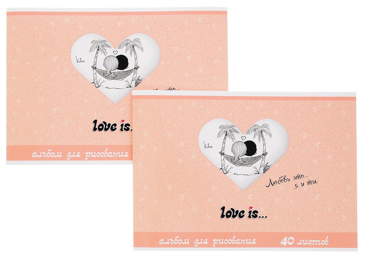 Action! Альбом для рисования Love is... 40 листов цвет персиковый 2 штLI-AA-40_персиковыйАльбом для рисования Action! Love is... порадует маленького художника и вдохновит его на творчество. Альбом изготовлен из белой бумаги с яркой обложкой из высококачественного картона, оформленной изображением влюбленной пары. Высокое качество бумаги позволяет рисовать в альбоме карандашами, фломастерами, акварельными и гуашевыми красками. Внутренний блок альбома состоит из 40 листов белой бумаги, соединенных двумя металлическими скрепками. В наборе два альбома.