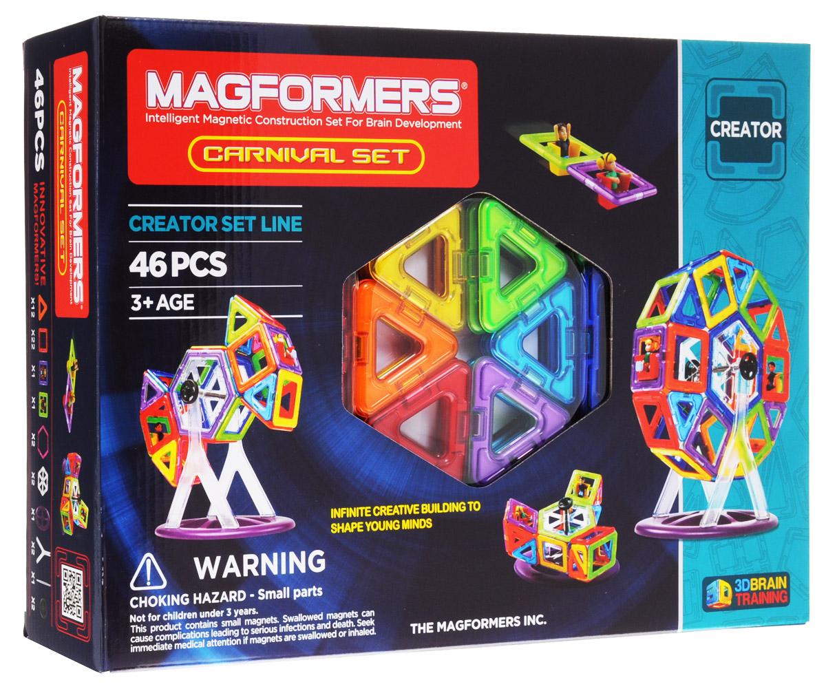 Magformers Магнитный конструктор Carnival Set63074Магнитный конструктор Magformers Carnival Set не содержит мелких деталей, что делает его абсолютно безопасным. Конструктор подходит детям с трех лет. Этот набор яркий, красочный, фееричный. В состав конструктора входит 46 элементов. Помимо базовых деталей - квадратов, треугольников и шестиугольников, здесь имеется специальная подставка для создания колеса обозрения и каруселей, что придает игре элемент интерактивности. Наличие двух квадратиков со встроенными фигурками мальчика и девочки делает игру живее и интереснее - прокатить кого-то на только что изобретенном аттракционе всегда здорово! Прочные и сильные магнитики в элементах делают конструкции очень крепкими. Все детали этого набора совместимы с другими наборами Magformers, это позволяет делать очень интересные комбинации.