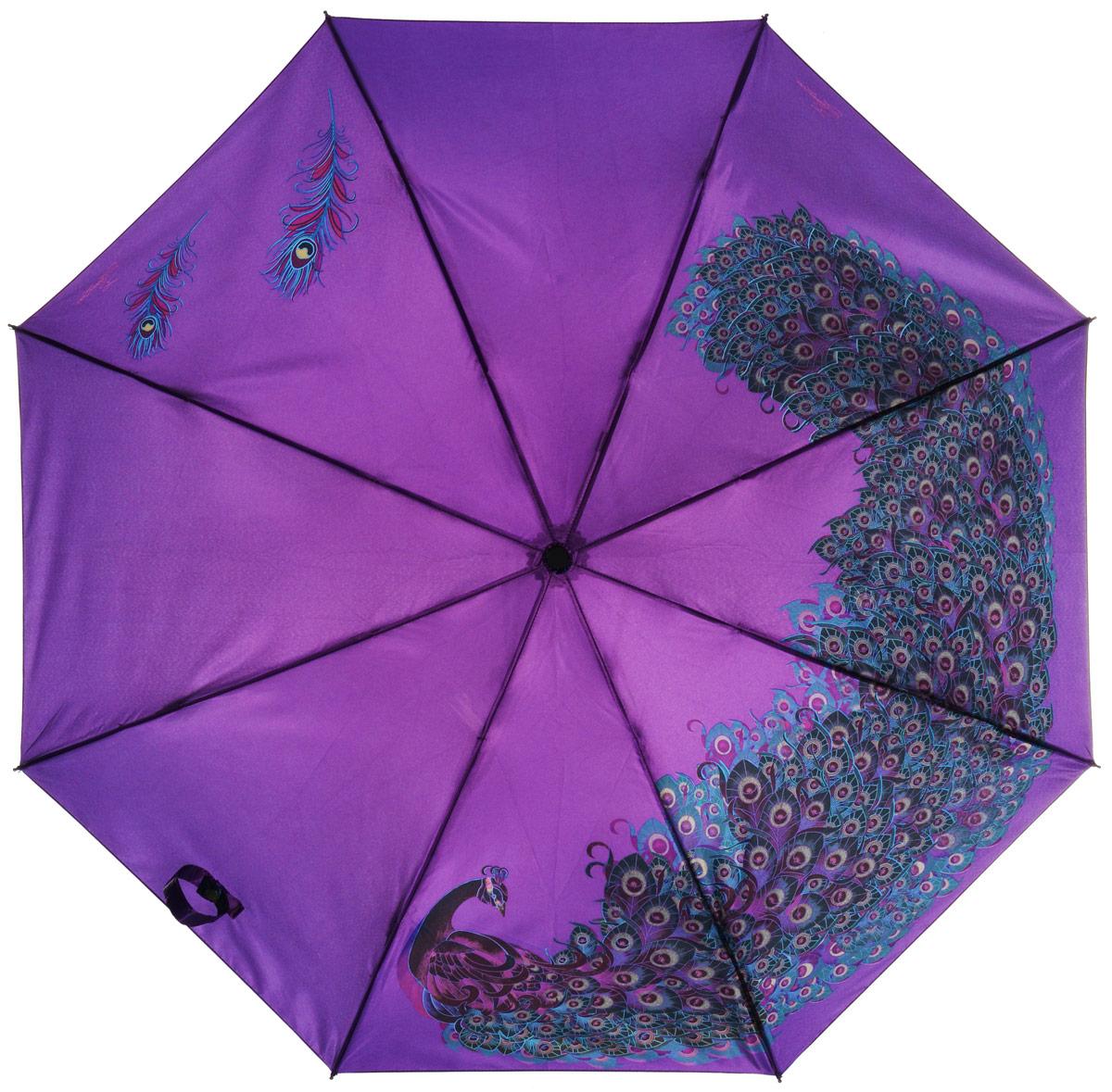 Зонт женский Eleganzza, автомат, 3 сложения, цвет: темно-фиолетовый. A3-05-0257LA3-05-0257LСтильный и элегантный зонт Eleganzza не оставит вас незамеченной. Зонт оформлен оригинальным принтом. Зонт состоит из восьми спиц и стержня, изготовленных из стали и фибергласса. Купол выполнен из качественного полиэстера и сатина, которые не пропускают воду. Зонт дополнен удобной ручкой из пластика. Зонт имеет автоматический механизм сложения: купол открывается и закрывается нажатием кнопки на ручке, стержень складывается вручную до характерного щелчка, благодаря чему открыть и закрыть зонт можно одной рукой. Ручка дополнена петлей, благодаря которой зонт можно носить на запястье . К зонту прилагается чехол. Удобный и практичный аксессуар даже в ненастную погоду позволит вам оставаться женственной и привлекательной.
