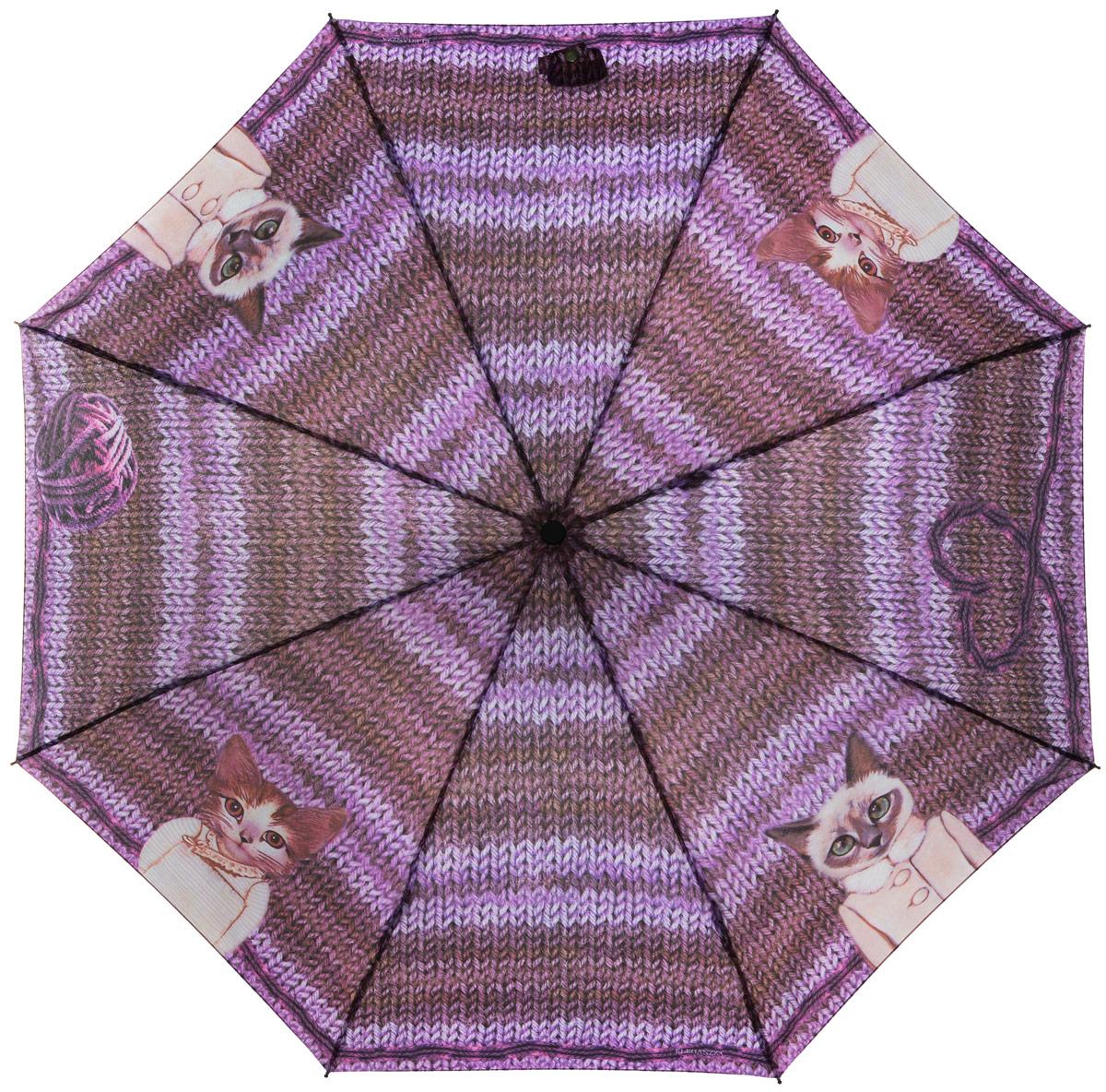 Зонт женский Eleganzza, автомат, 3 сложения, цвет: лиловый. A3-05-0269A3-05-0269Стильный и элегантный зонт Eleganzza не оставит вас незамеченной. Зонт оформлен оригинальной художественной печатью с изображением котов. Зонт состоит из восьми спиц и стержня, изготовленных из стали и фибергласса. Купол выполнен из качественного полиэстера и эпонжа, которые не пропускают воду. Зонт дополнен удобной ручкой из пластика. Зонт имеет автоматический механизм сложения: купол открывается и закрывается нажатием кнопки на ручке, стержень складывается вручную до характерного щелчка, благодаря чему открыть и закрыть зонт можно одной рукой. Ручка дополнена петлей, благодаря которой зонт можно носить на запястье. К зонту прилагается чехол. Удобный и практичный аксессуар даже в ненастную погоду позволит вам оставаться женственной и привлекательной.