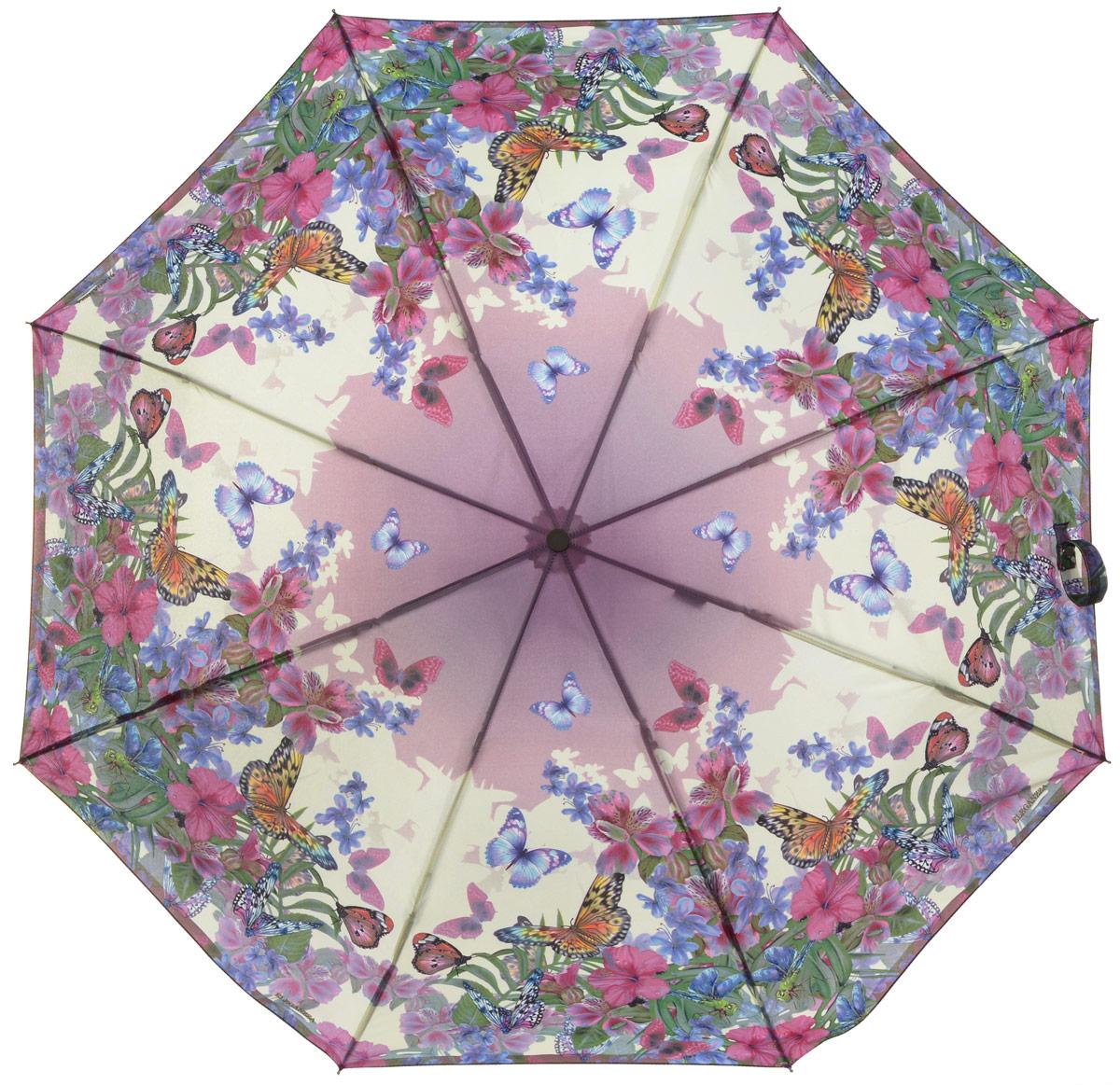 Зонт женский Eleganzza, автомат, 3 сложения, цвет: бежевый, мультиколор. A3-05-0299LSA3-05-0299LSСтильный и элегантный зонт Eleganzza не оставит вас незамеченной. Зонт оформлен оригинальным принтом. Зонт состоит из восьми спиц и стержня, изготовленных из стали, алюминия и фибергласса. Купол выполнен из качественного полиэстера и эпонжа, которые не пропускают воду. Зонт дополнен удобной ручкой из пластика. Зонт имеет автоматический механизм сложения: купол открывается и закрывается нажатием кнопки на ручке, стержень складывается вручную до характерного щелчка и каркас не вылетает обратно, благодаря чему открыть и закрыть зонт можно одной рукой. Ручка дополнена петлей, благодаря которой зонт можно носить на запястье . К зонту прилагается чехол. Удобный и практичный аксессуар даже в ненастную погоду позволит вам оставаться женственной и привлекательной.