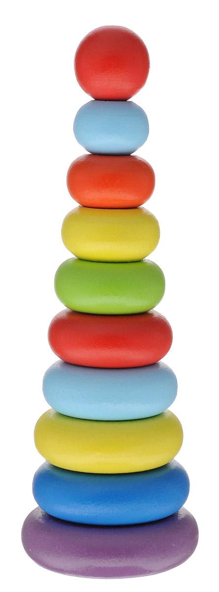 Alatoys Пирамидка Колечки 10 элементов050110Пирамидка Alatoys Колечки - незаменимая игрушка для самых маленьких. Яркая разноцветная пирамидка развивает сенсорные навыки, чувство формы, размера, определение цвета, творческое и логическое мышления, речь и навыки общения. Пирамидка Alatoys Колечки по праву считается правильной детской игрушкой, которая должна быть у каждого ребенка. Кольца пирамидки изготовлены из древесины березы - натурального природного материала, поэтому она абсолютно безопасна для здоровья малыша. Также игрушка не содержат мелких деталей и частей, которые ребенок мог бы отломить, поэтому можете быть абсолютно уверены в том, что пирамидка не опасна и безвредна для ребенка. Игра с пирамидкой развивает ловкость рук, сноровку и координацию движений, мелкую моторику пальцев рук, а также стимулирует развитие умственных способностей вашего малыша. Очень важное достоинство этой деревянной пирамидки - ее долговечность, которая обусловлена тем, что все детали изготовлены из прочного и надежного материала -...