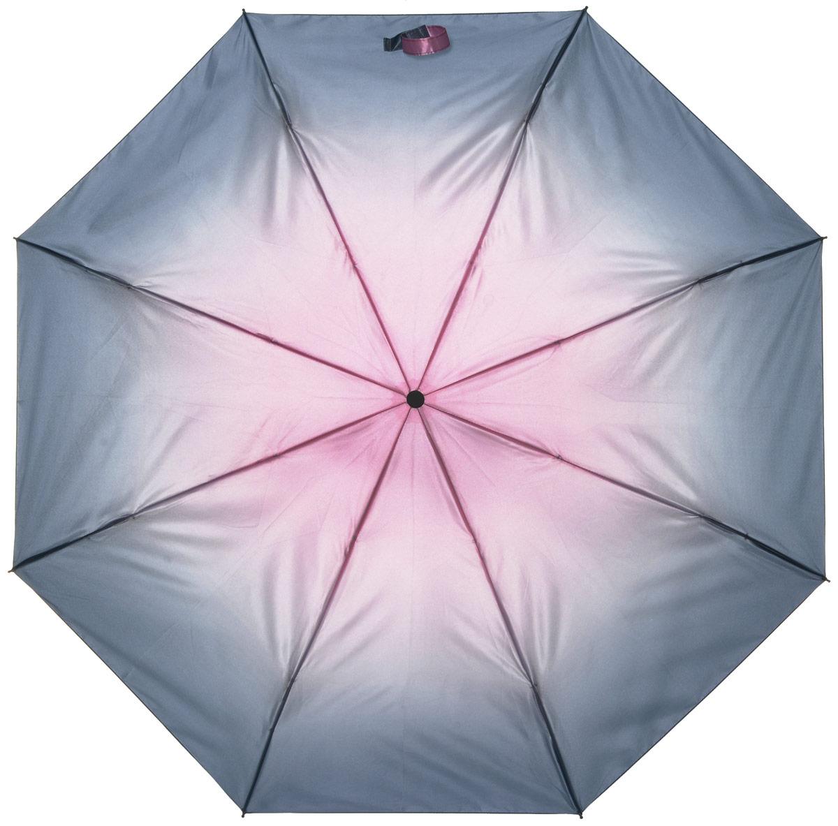 Зонт женский Labbra, автомат, 3 сложения, цвет: серый, розовый. A3-05-026A3-05-026Яркий зонт Labbra не оставит вас незамеченной. Зонт оформлен в оригинальным принтом. Зонт состоит из шести спиц и стержня, изготовленных из стали и фибергласса. Купол выполнен из качественного полиэстера и сатина, которые не пропускают воду. Зонт дополнен удобной ручкой из пластика. Зонт имеет автоматический механизм сложения: купол открывается и закрывается нажатием кнопки на ручке, стержень складывается вручную до характерного щелчка, благодаря чему открыть и закрыть зонт можно одной рукой. Ручка дополнена петлей, благодаря которой зонт можно носить на запястье . К зонту прилагается чехол. Удобный и практичный аксессуар даже в ненастную погоду позволит вам оставаться стильной и элегантной.