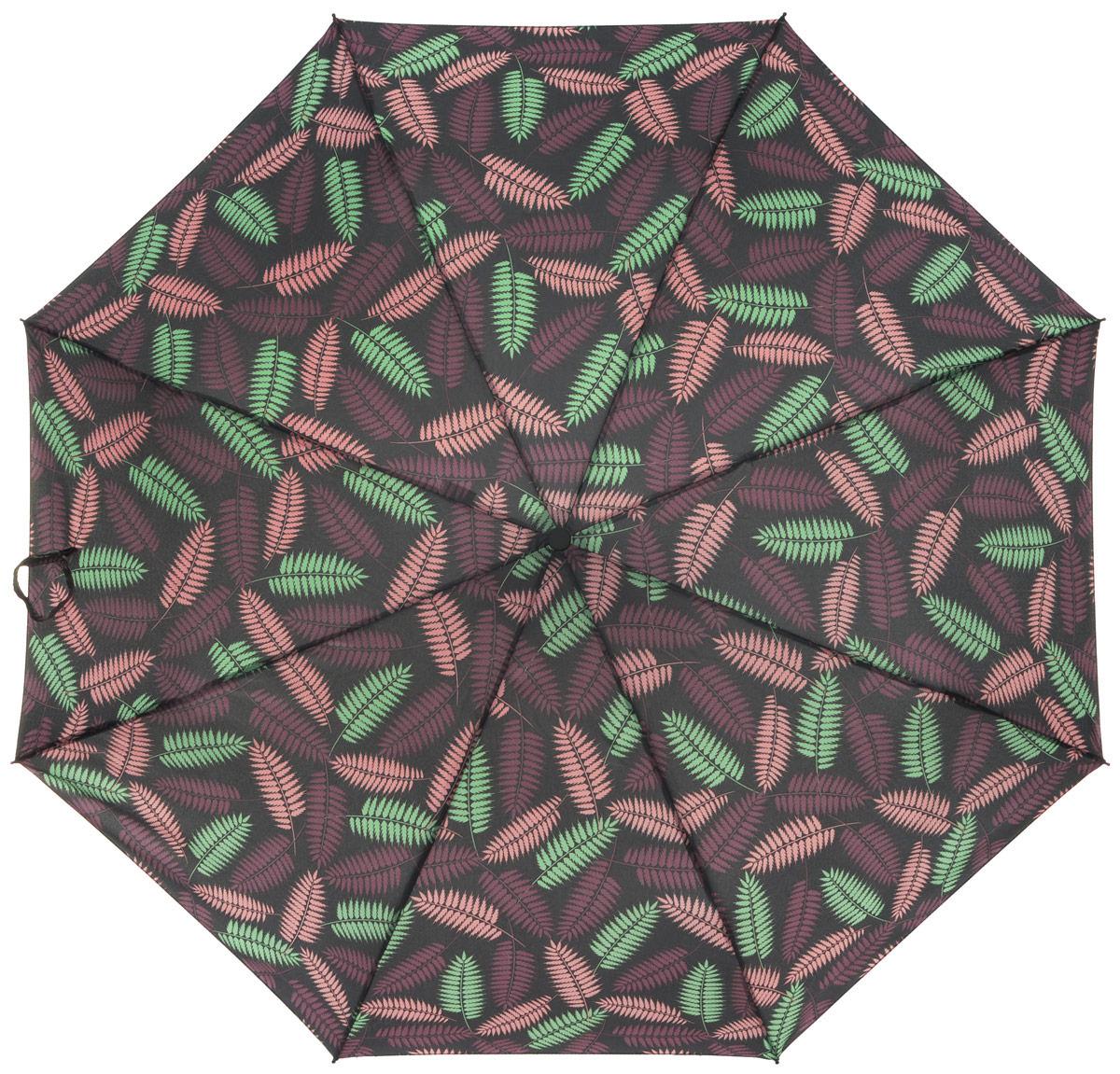 Зонт женский Labbra, автомат, 3 сложения, цвет: серый. A3-05-034A3-05-034Яркий зонт Labbra не оставит вас незамеченной. Зонт оформлен оригинальным принтом. Зонт состоит из восьми спиц и стержня, изготовленных из стали и фибергласса. Купол выполнен из качественного полиэстера и эпонжа, которые не пропускают воду. Зонт дополнен удобной ручкой из пластика. Зонт имеет автоматический механизм сложения: купол открывается и закрывается нажатием кнопки на ручке, стержень складывается вручную до характерного щелчка, благодаря чему открыть и закрыть зонт можно одной рукой. Ручка дополнена петлей, благодаря которой зонт можно носить на запястье . К зонту прилагается чехол. Удобный и практичный аксессуар даже в ненастную погоду позволит вам оставаться стильной и элегантной.
