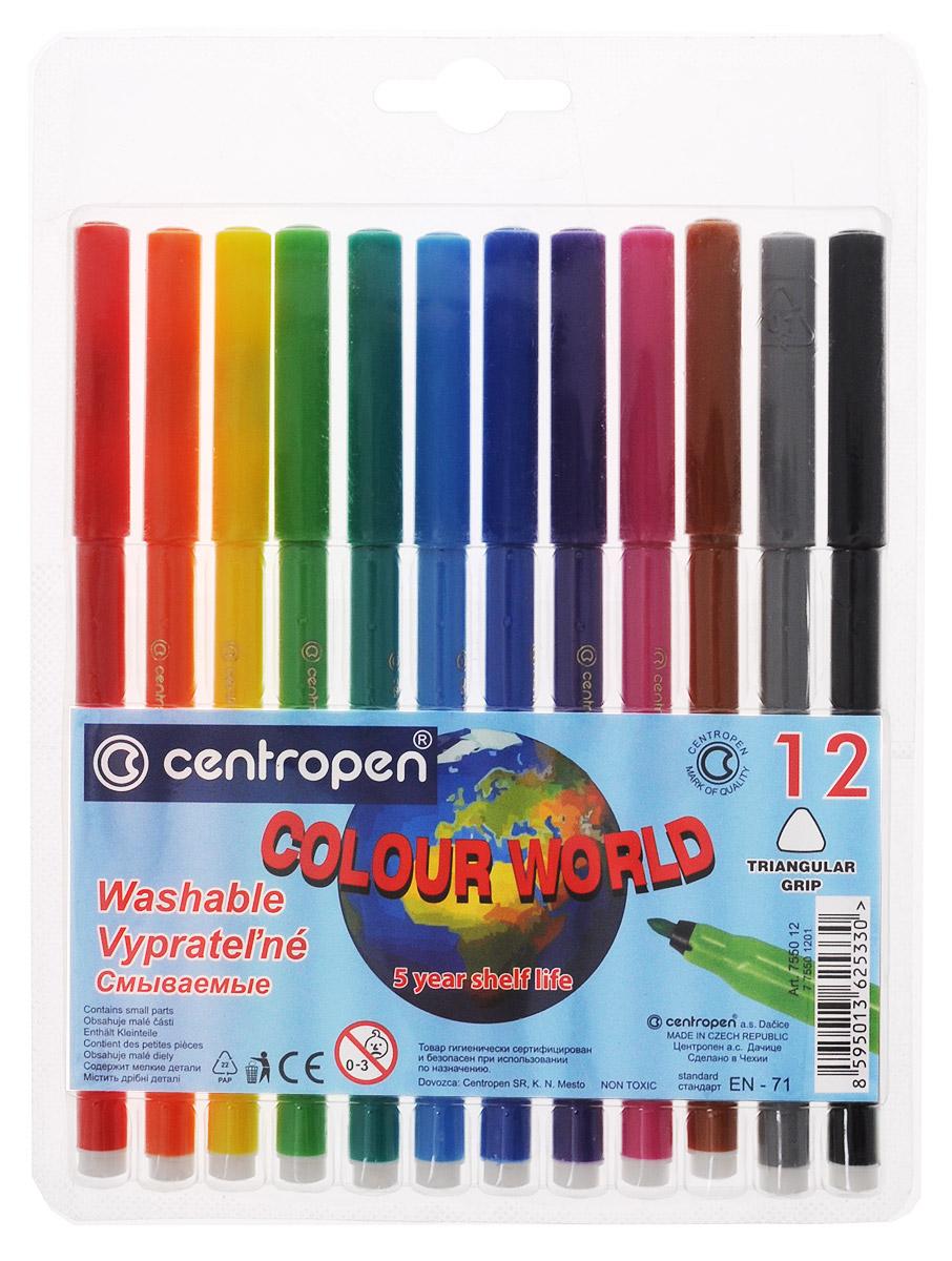 Centropen Набор фломастеров Colour World 12 цветов7550/12Цветные смываемые фломастеры Colour World от Centropen всегда помогут вашему маленькому художнику во всех его творческих начинаниях. Фломастеры оснащены вентилируемым колпачком и имеют эргономичную треугольную зону обхвата. Они предназначены не только для рисования, но и для письма. Фломастеры смываются с рук даже холодной водой и очень легко отстирываются с одежды при температуре +60°С. Корпус каждого фломастера выполнен из полипропилена, а благодаря вентилируемым колпачкам они сохраняют свои свойства, не высыхая, минимум 3 года. Также фломастеры имеют цилиндрический пишущий узел, устойчивый к вдавливанию. Рекомендуемый возраст от 3-х лет.