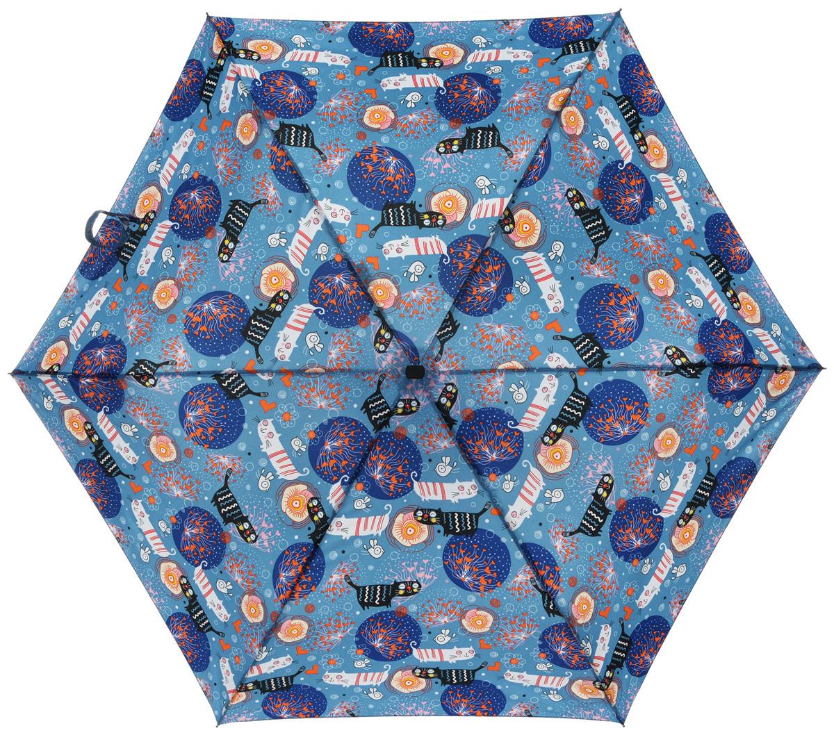 Зонт женский Labbra, автомат, 3 сложения, цвет: голубой. A3-05-LF034A3-05-LF034Яркий зонт Labbra не оставит вас незамеченной. Зонт оформлен оригинальным принтом с изображением кошек. Зонт состоит из шести спиц и стержня, изготовленных из стали, алюминия и фибергласса. Купол выполнен из качественного полиэстера и эпонжа, которые не пропускают воду. Зонт дополнен удобной ручкой из пластика. Зонт имеет автоматический механизм сложения: купол открывается и закрывается нажатием кнопки на ручке, стержень складывается вручную до характерного щелчка, благодаря чему открыть и закрыть зонт можно одной рукой. Ручка дополнена петлей, благодаря которой зонт можно носить на запястье . К зонту прилагается чехол. Удобный и практичный аксессуар даже в ненастную погоду позволит вам оставаться стильной и элегантной.