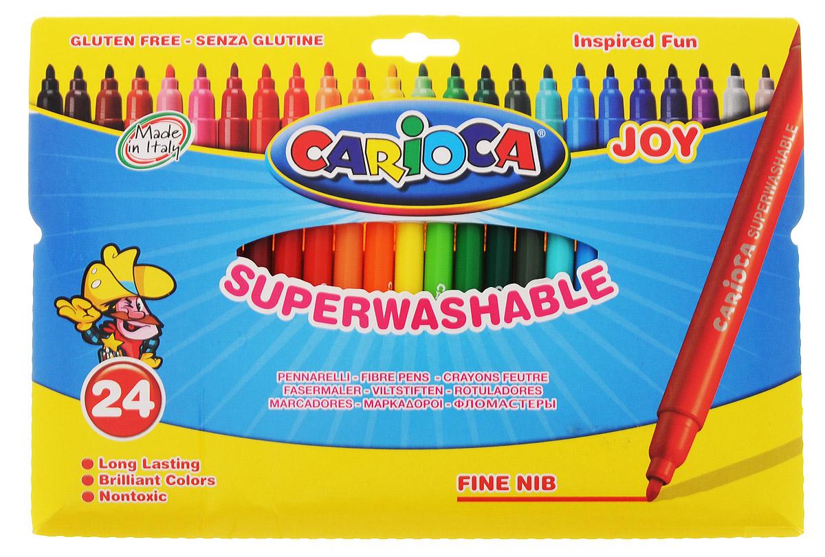 Carioca Набор фломастеров Joy 24 цвета40532/24Фломастеры Carioca Joy отлично подойдут и для школьных занятий, и просто для рисования. Комплект включает в себя фломастеры 24 ярких насыщенных цветов в разноцветных пластиковых корпусах (цвет корпуса соответствует цвету чернил). Каждый фломастер оснащен плотным вентилируемым колпачком, надежно защищающим чернила от испарения. Наконечники фломастеров устойчивы к повышенному давлению и не разнашиваются со временем. Чернила фломастеров на водной основе не токсичны и абсолютно безопасны. Фломастеры Carioca Joy - идеальный инструмент для самовыражения и развития маленького художника! Характеристики: Длина фломастера: 14,5 см. Диаметр фломастера: 0,9 см.