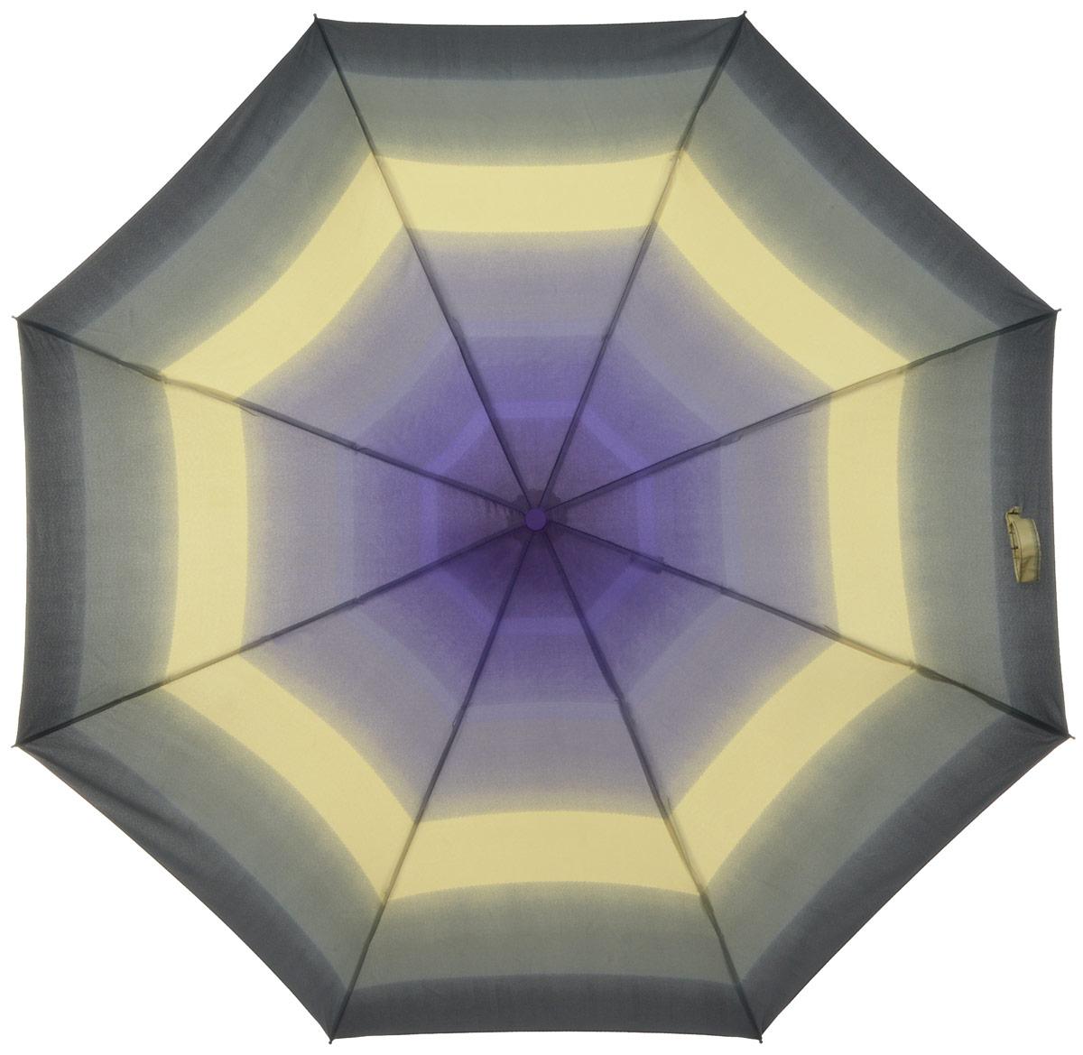 Зонт женский Labbra, автомат, 3 сложения, цвет: серый, фиолетовый. A3-05-040A3-05-040Яркий зонт Labbra не оставит вас незамеченной. Зонт оформлен оригинальным принтом. Зонт состоит из восьми спиц и стержня, изготовленных из стали и фибергласса. Купол выполнен из качественного полиэстера и эпонжа, которые не пропускают воду. Зонт дополнен удобной ручкой из пластика. Зонт имеет автоматический механизм сложения: купол открывается и закрывается нажатием кнопки на ручке, стержень складывается вручную до характерного щелчка, благодаря чему открыть и закрыть зонт можно одной рукой. Ручка дополнена петлей, благодаря которой зонт можно носить на запястье . К зонту прилагается чехол. Удобный и практичный аксессуар даже в ненастную погоду позволит вам оставаться стильной и элегантной.