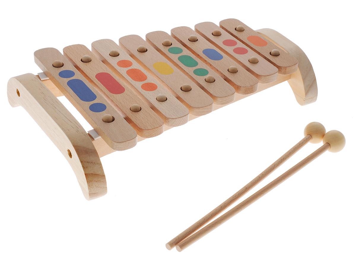 Мир деревянных игрушек Музыкальная игрушка Ксилофон 8 тоновД045Яркий Ксилофон, изготовленный из дерева, позволит вашему малышу создать незабываемый концерт и удивить друзей и близких. Благодаря удобным палочкам, ребенок будет с радостью выстукивать различные мелодии. Пластины выполнены в различной цветовой гамме, что позволяет ребенку зрительно запоминать и сопоставлять звук соответствующему цвету. Игра на ксилофоне поможет развить слух, звуковое и цветовое восприятия, концентрацию внимания и мелкую моторику рук ребенка. Характеристики: Длина палочки: 21,5 см.