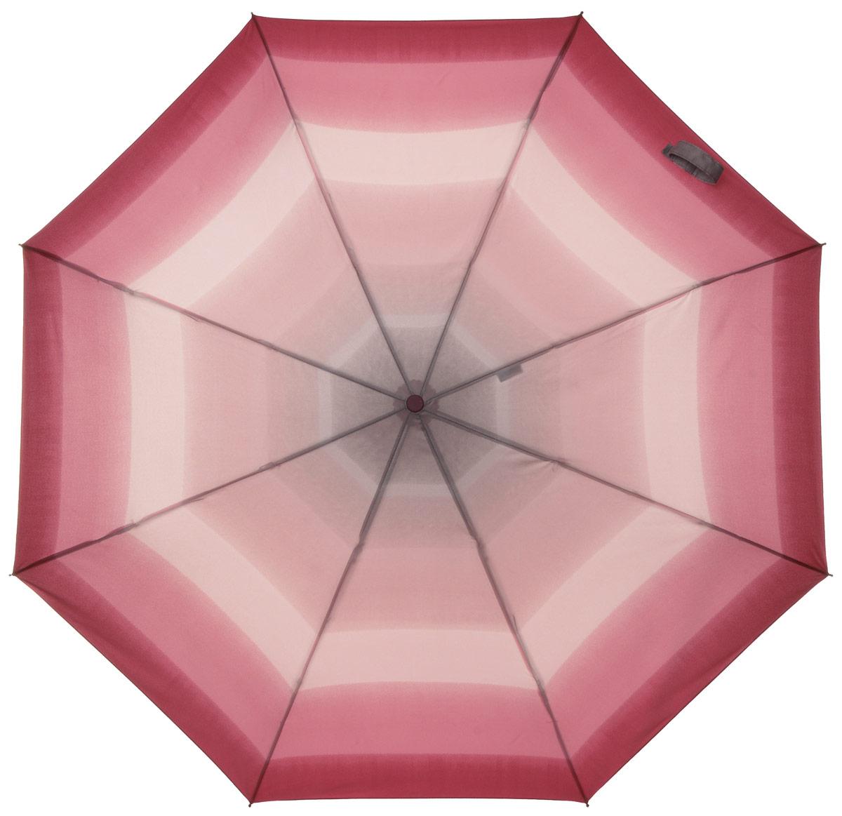 Зонт женский Labbra, автомат, 3 сложения, цвет: розовый. A3-05-041A3-05-041Яркий зонт Labbra не оставит вас незамеченной. Зонт оформлен оригинальным принтом. Зонт состоит из восьми спиц и стержня, изготовленных из стали и фибергласса. Купол выполнен из качественного полиэстера и эпонжа, которые не пропускают воду. Зонт дополнен удобной ручкой из пластика. Зонт имеет автоматический механизм сложения: купол открывается и закрывается нажатием кнопки на ручке, стержень складывается вручную до характерного щелчка, благодаря чему открыть и закрыть зонт можно одной рукой. Ручка дополнена петлей, благодаря которой зонт можно носить на запястье. К зонту прилагается чехол. Удобный и практичный аксессуар даже в ненастную погоду позволит вам оставаться стильной и элегантной.