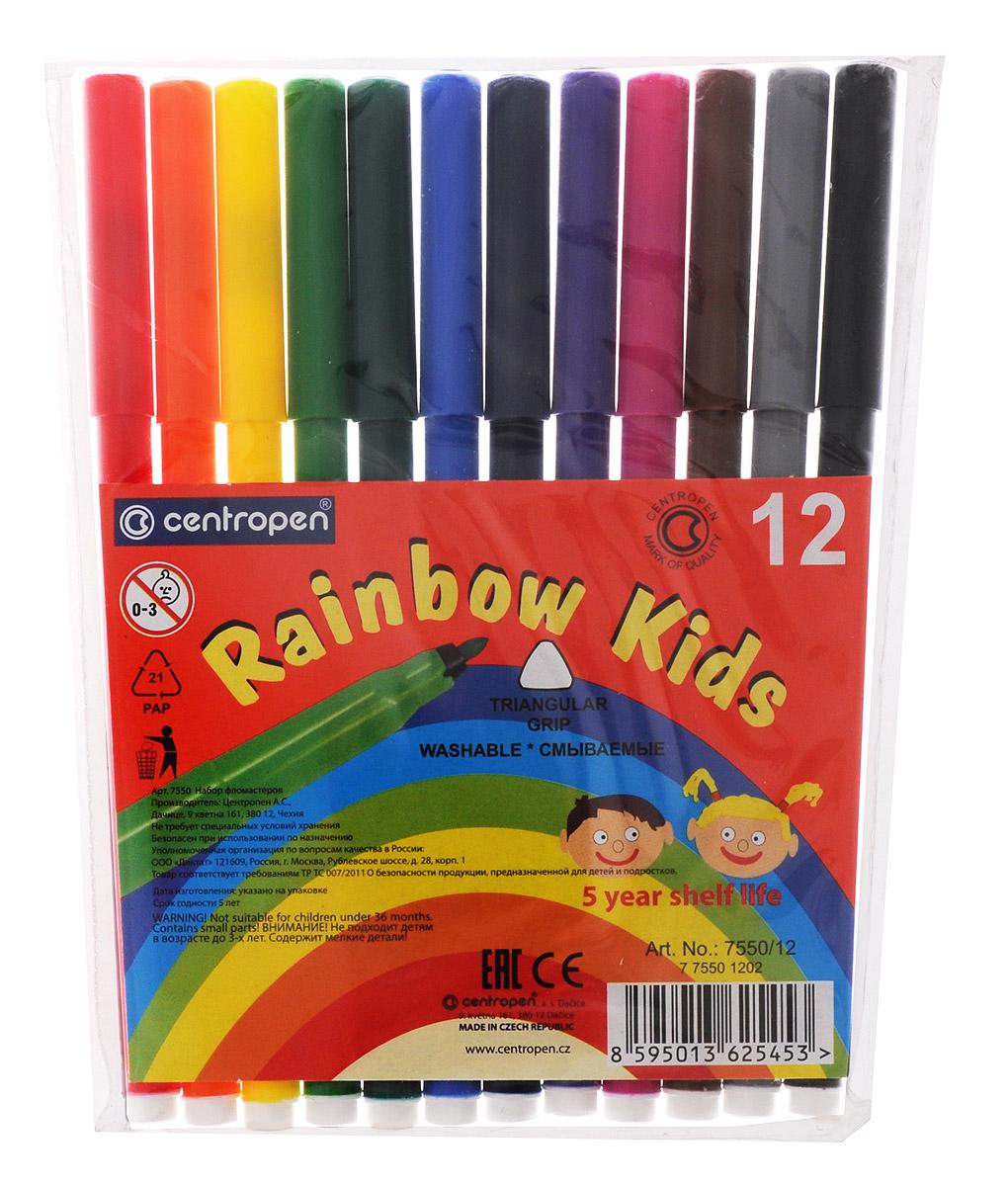 Centropen Набор фломастеров Rainbow Kids 12 цветов7550/12Цветные смываемые фломастеры Rainbow Kids от Centropen всегда помогут вашему маленькому художнику во всех его творческих начинаниях. Фломастеры оснащены вентилируемым колпачком, поэтому сохраняют свои свойства, не высыхая, минимум 3 года. Эргономичная треугольная зона обхвата корпуса позволяет использовать их с большим комфортом. Цилиндрический пишущий узел достаточно устойчив к вдавливанию. Фломастеры легко смываются с рук даже холодной водой и очень легко отстирываются. Набор состоит из 12 разноцветных фломастеров. Рекомендуемый возраст: от 3-х лет.