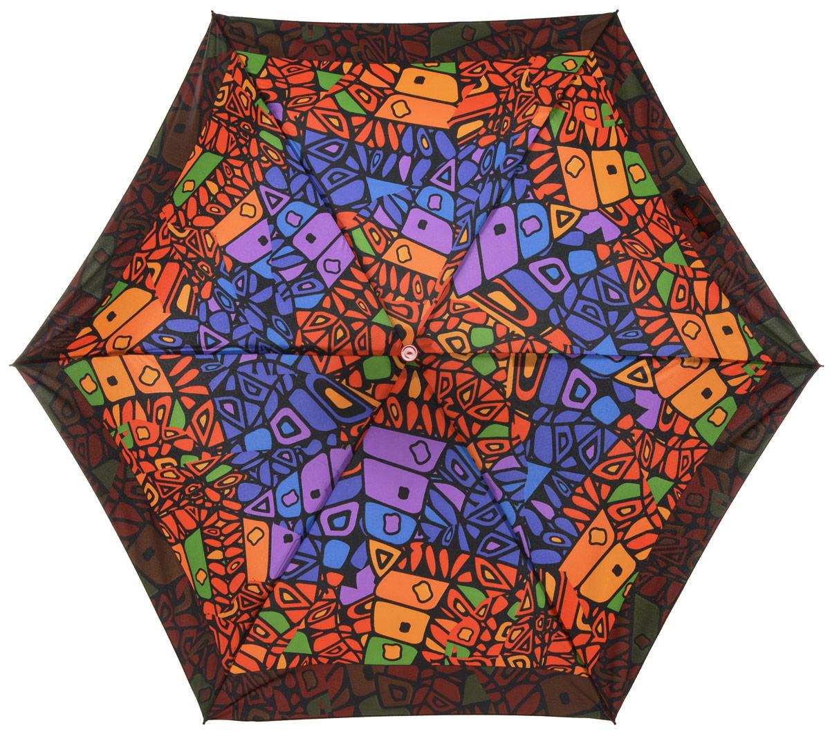 Зонт женский Labbra, автомат, 3 сложения, цвет: мультиколор. A3-05-LR023A3-05-LR023Яркий зонт Labbra не оставит вас незамеченной. Зонт оформлен оригинальным геометрическом принтом. Зонт состоит из шести спиц и стержня, изготовленных из стали, алюминия и фибергласса. Купол выполнен из качественного полиэстера и эпонжа, которые не пропускают воду. Зонт дополнен удобной ручкой из пластика. Зонт имеет автоматический механизм сложения: купол открывается и закрывается нажатием кнопки на ручке, стержень складывается вручную до характерного щелчка, благодаря чему открыть и закрыть зонт можно одной рукой. Ручка дополнена петлей, благодаря которой зонт можно носить на запястье . К зонту прилагается чехол. Удобный и практичный аксессуар даже в ненастную погоду позволит вам оставаться стильной и элегантной.