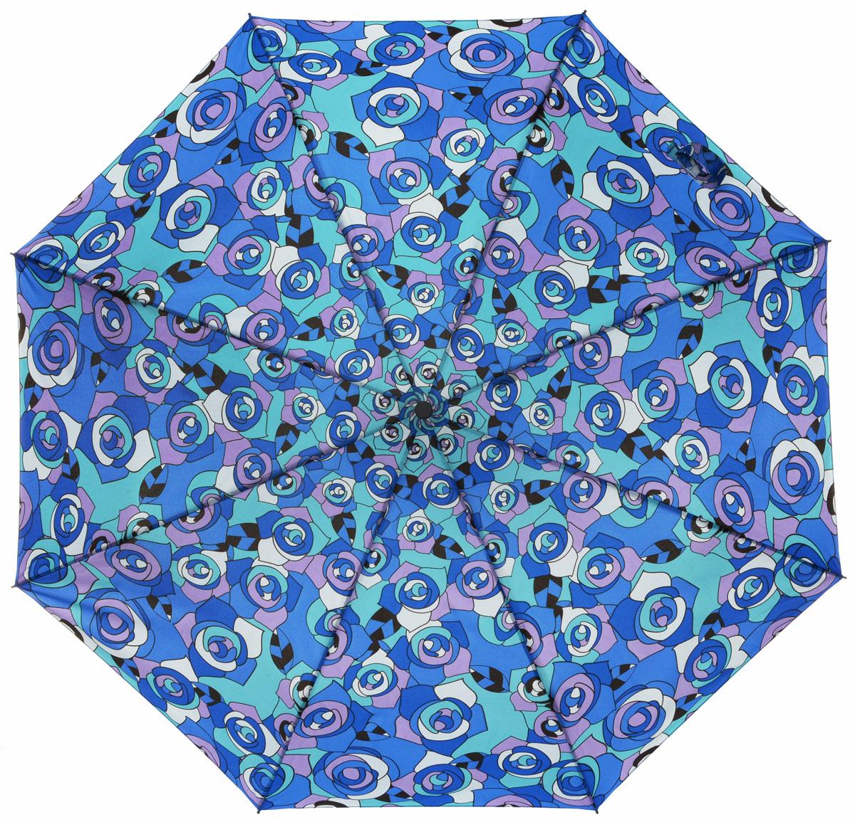 Зонт женский Labbra, автомат, 3 сложения, цвет: голубой, синий. A3-05-046A3-05-046Яркий зонт Labbra не оставит вас незамеченной. Зонт оформлен оригинальным принтом в виде цветов. Зонт состоит из восьми спиц и стержня, изготовленных из стали и фибергласса. Купол выполнен из качественного полиэстера и эпонжа, которые не пропускают воду. Зонт дополнен удобной ручкой из пластика. Зонт имеет автоматический механизм сложения: купол открывается и закрывается нажатием кнопки на ручке, стержень складывается вручную до характерного щелчка, благодаря чему открыть и закрыть зонт можно одной рукой. Ручка дополнена петлей, благодаря которой зонт можно носить на запястье . К зонту прилагается чехол. Удобный и практичный аксессуар даже в ненастную погоду позволит вам оставаться стильной и элегантной.