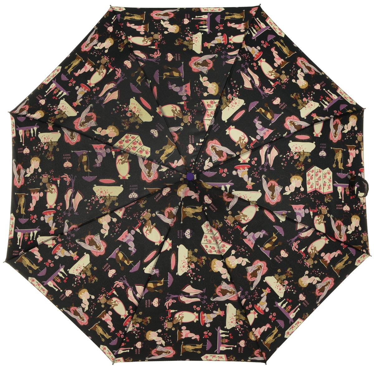 Зонт женский Labbra, автомат, 3 сложения, цвет: черный, мультиколор. A3-05-008A3-05-008Яркий зонт Labbra не оставит вас незамеченной. Зонт оформлен оригинальным принтом в виде цветов. Зонт состоит из восьми спиц и стержня, изготовленных из стали и фибергласса. Купол выполнен из качественного полиэстера и эпонжа, которые не пропускают воду. Зонт дополнен удобной ручкой из пластика. Зонт имеет автоматический механизм сложения: купол открывается и закрывается нажатием кнопки на ручке, стержень складывается вручную до характерного щелчка, благодаря чему открыть и закрыть зонт можно одной рукой. Ручка дополнена петлей, благодаря которой зонт можно носить на запястье . К зонту прилагается чехол. Удобный и практичный аксессуар даже в ненастную погоду позволит вам оставаться стильной и элегантной.