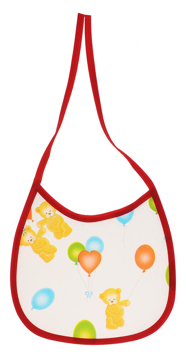 Колорит Нагрудник Мишки с шариками цвет красный белый 17 х 17 см