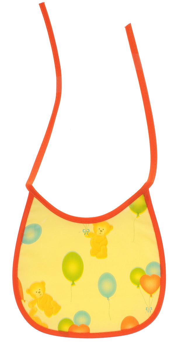 Колорит Нагрудник Мишки с шариками цвет желтый оранжевый 17 х 17 см