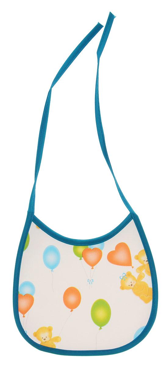 Колорит Нагрудник Мишки с шариками цвет белый бирюзовый 17 х 17 см