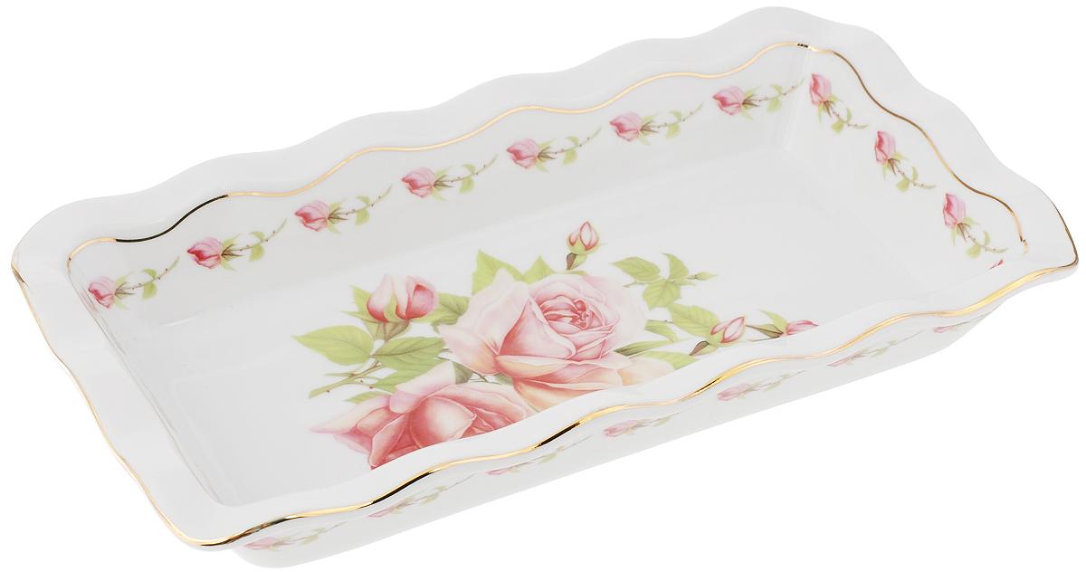 Блюдо для заливного Elan Gallery Розовая фантазия, 26,5 х 14,5 см503711Сервировочное блюдо Elan Gallery Розовая фантазия, изготовленное из керамики, прекрасно подойдет для заливного, холодца и слоеных салатов. Блюдо оформлено в традиционном дизайне с золотистой каймой. Оно украсит сервировку вашего стола и подчеркнет прекрасный вкус хозяйки. Не использовать в микроволновой печи. Размер блюда (по верхнему краю): 26,5 х 14,5 см. Высота стенки блюда: 4,5 см.