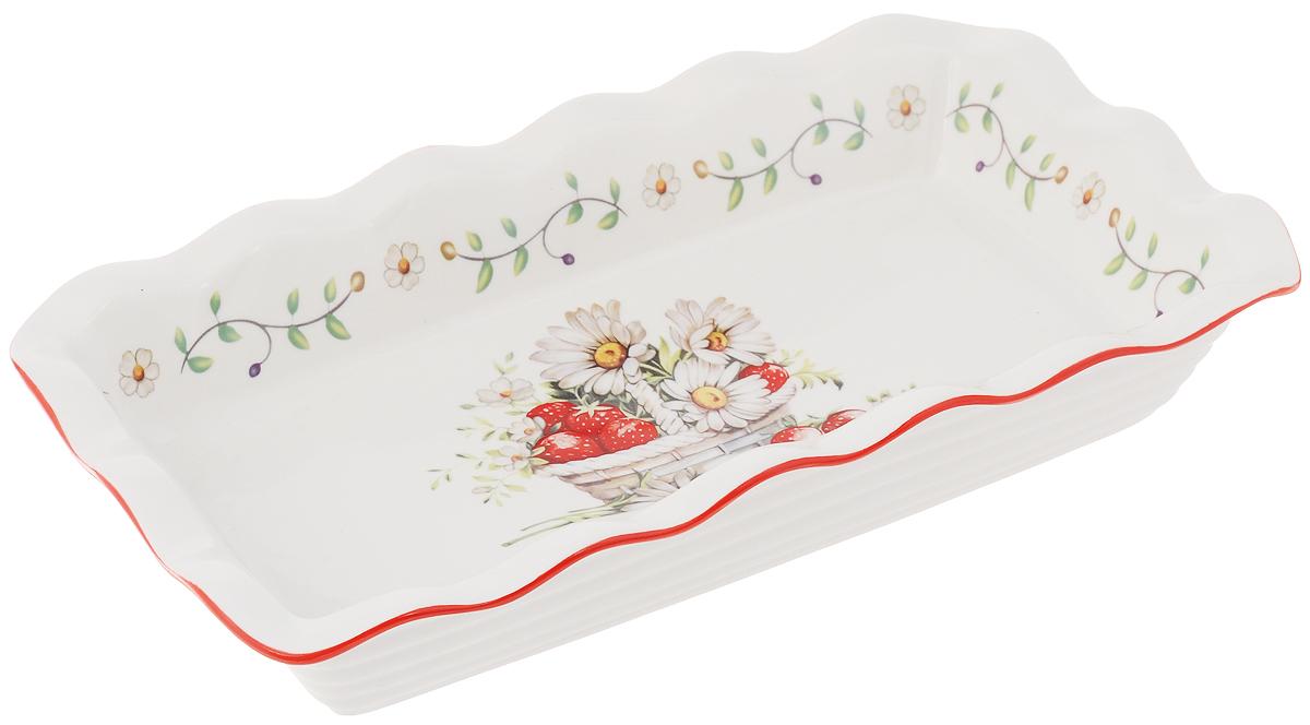Блюдо для заливного Elan Gallery Ромашки, 27 х 15 см101282Сервировочное блюдо Elan Gallery Ромашки, изготовленное из керамики, прекрасно подойдет для заливного, холодца и слоеных салатов. Блюдо оформлено в цветочном дизайне. Оно украсит сервировку вашего стола и подчеркнет прекрасный вкус хозяйки. Не использовать в микроволновой печи. Размер блюда (по верхнему краю): 27 х 15 см. Высота стенки блюда: 4,5 см.