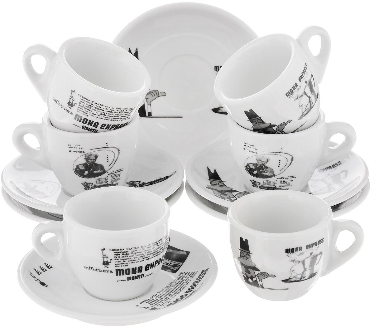 Кофейный набор Bialetti Carosello, 12 предметов133Кофейный набор Bialetti Carosello, изготовленный из высококачественной керамики, состоит из 6 чашек и 6 блюдец. Внешние стенки изделий выполнены в стиле ретро. Такой набор прекрасно подойдет как для повседневного использования, так и для праздников. Кофейный набор Bialetti Carosello - это не только яркий и полезный подарок для родных и близких, а также великолепное решение для вашей кухни или столовой. Можно мыть в посудомоечной машине. Объем чашки: 60 мл. Диаметр чашки (по верхнему краю): 6,5 см. Высота чашки: 5 см. Диаметр блюдца (по верхнему краю): 12 см. Высота блюдца: 1,5 см.