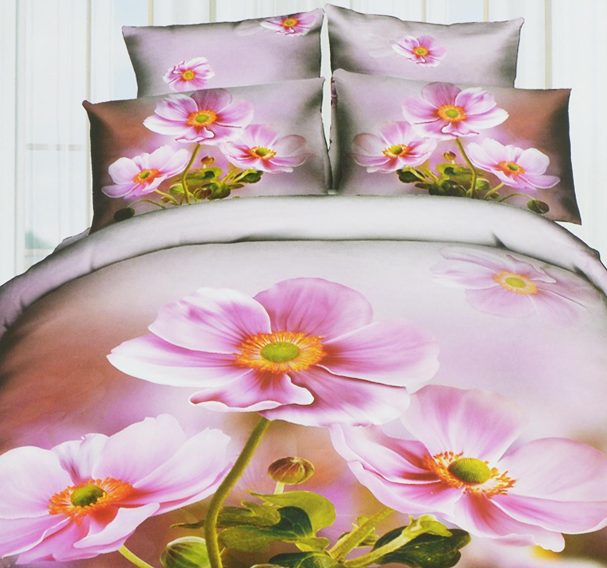 Комплект белья Mango, евро, наволочки 70х70, цвет: розовый, фуксия, зеленый. М-605-200-220-70