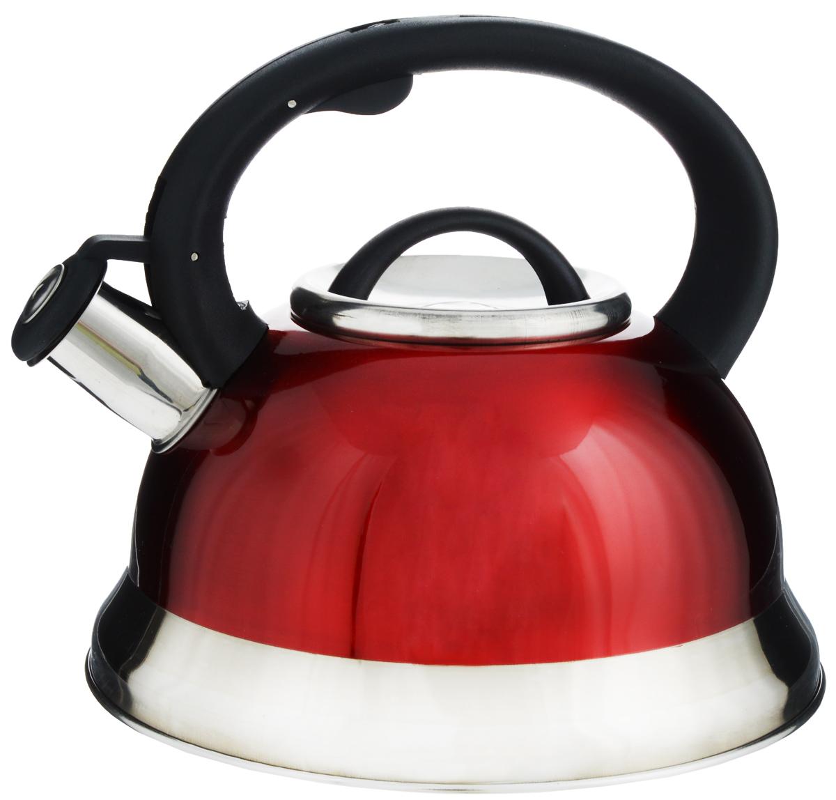 Чайник Mayer & Boch, со свистком, цвет: красный, черный, 3 л. 2574625746Чайник Mayer & Boch выполнен из долговечной и прочной нержавеющей стали, что делает его весьма гигиеничным и устойчивым к износу при длительном использовании. Гладкая и ровная поверхность существенно облегчает уход за посудой. Выполненный из качественных материалов, чайник при кипячении сохраняет все полезные свойства воды. Изделие оснащено свистком, благодаря которому вы можете не беспокоиться о том, что закипевшая вода зальет плиту. Как только вода закипит - свисток оповестит вас об этом. Фиксированная ручка, изготовленная из пластика, делает использование чайника очень удобным и безопасным. Подходит для всех типов плит, кроме индукционных. Можно мыть в посудомоечной машине. Высота чайника (с учетом ручки и крышки): 20 см. Диаметр основания: 22 см. Диаметр (по верхнему краю): 10 см.