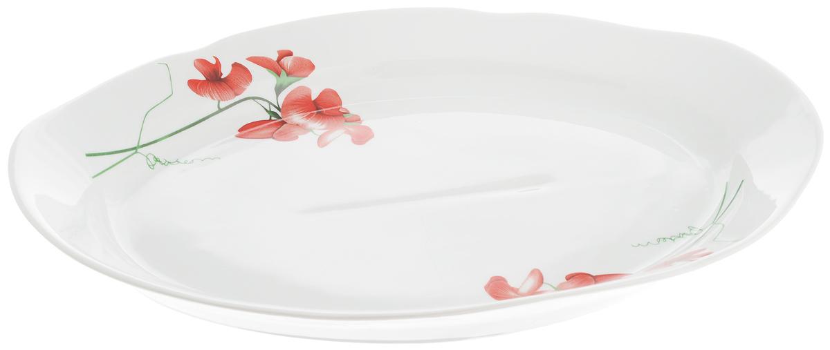 Блюдо Идиллия.е Рубин, 33 х 23 см1109499Сервировочное блюдо Идиллия. Рубин, изготовленное из фарфора, прекрасно подойдет для подачи нарезок, закусок и других блюд. Изделие, оформленное цветочным рисунком, украсит сервировку вашего стола и подчеркнет прекрасный вкус хозяйки.