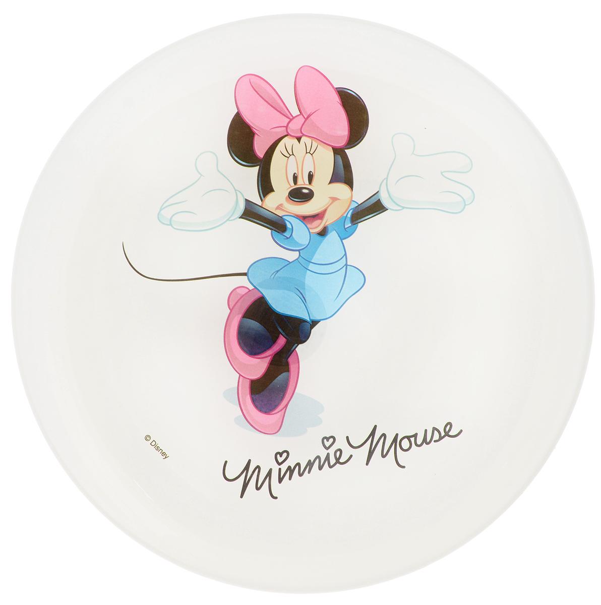 Тарелка десертная Luminarc Disney Minnie Colors, диаметр 20,5 смG9171Десертная тарелка Luminarc Disney Minnie Colors, изготовленная из ударопрочного стекла, обязательно понравится вашему ребенку. Такая тарелка прекрасно подходит как для торжественных случаев, так и для повседневного использования. Идеальна для подачи десертов, пирожных, тортов и многого другого.